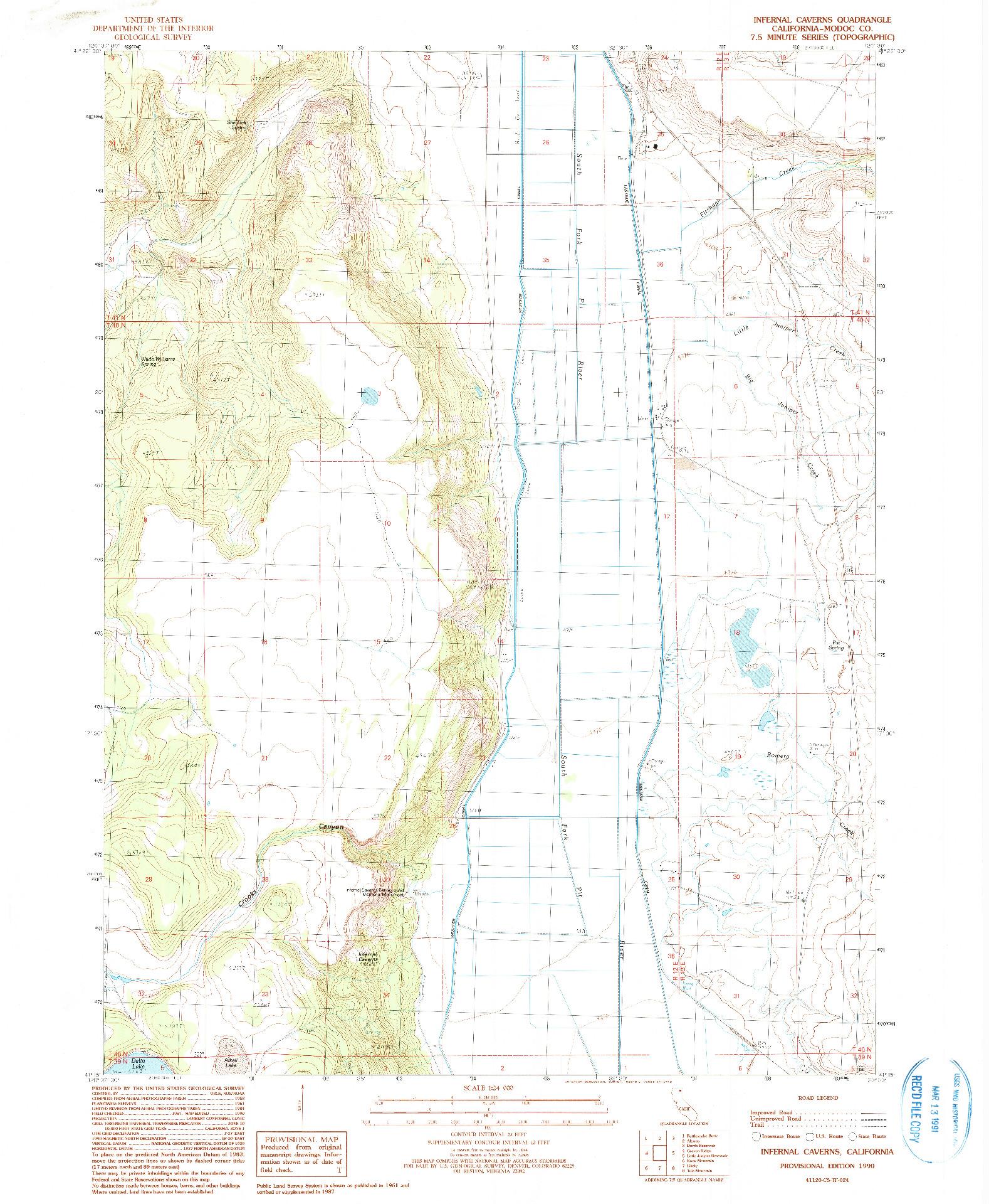 USGS 1:24000-SCALE QUADRANGLE FOR INFERNAL CAVERNS, CA 1990