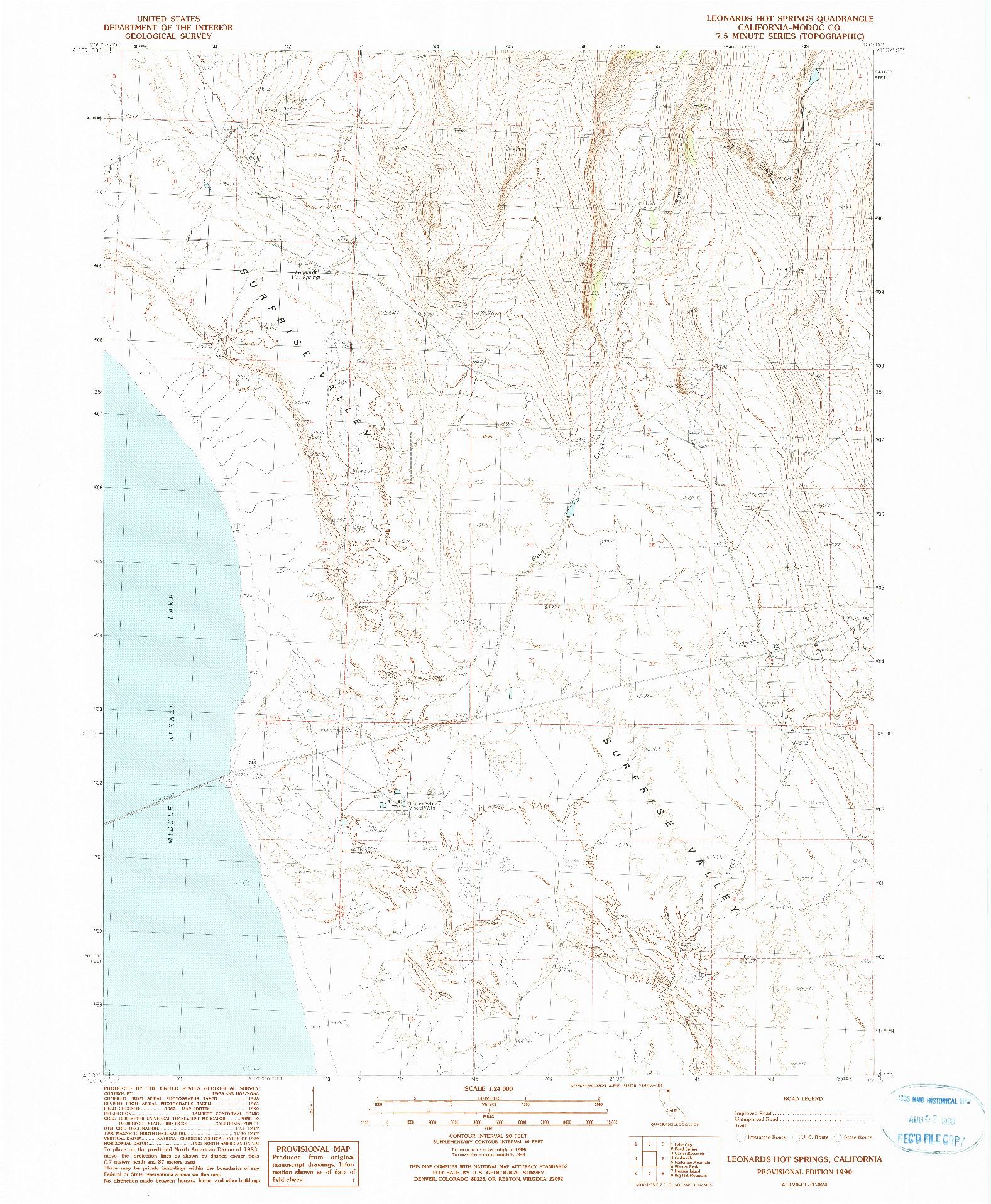 USGS 1:24000-SCALE QUADRANGLE FOR LEONARDS HOT SPRINGS, CA 1990