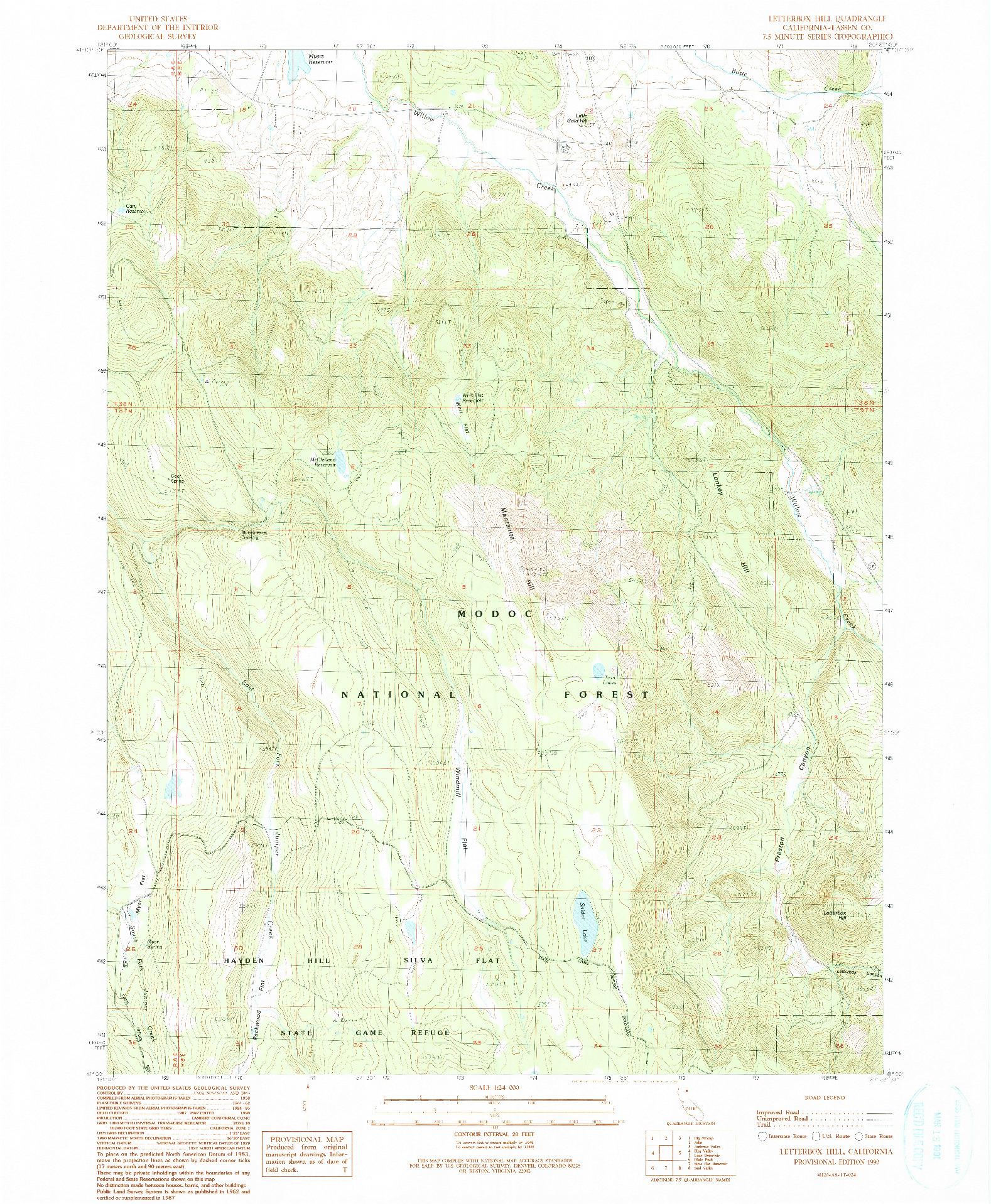 USGS 1:24000-SCALE QUADRANGLE FOR LETTERBOX HILL, CA 1990