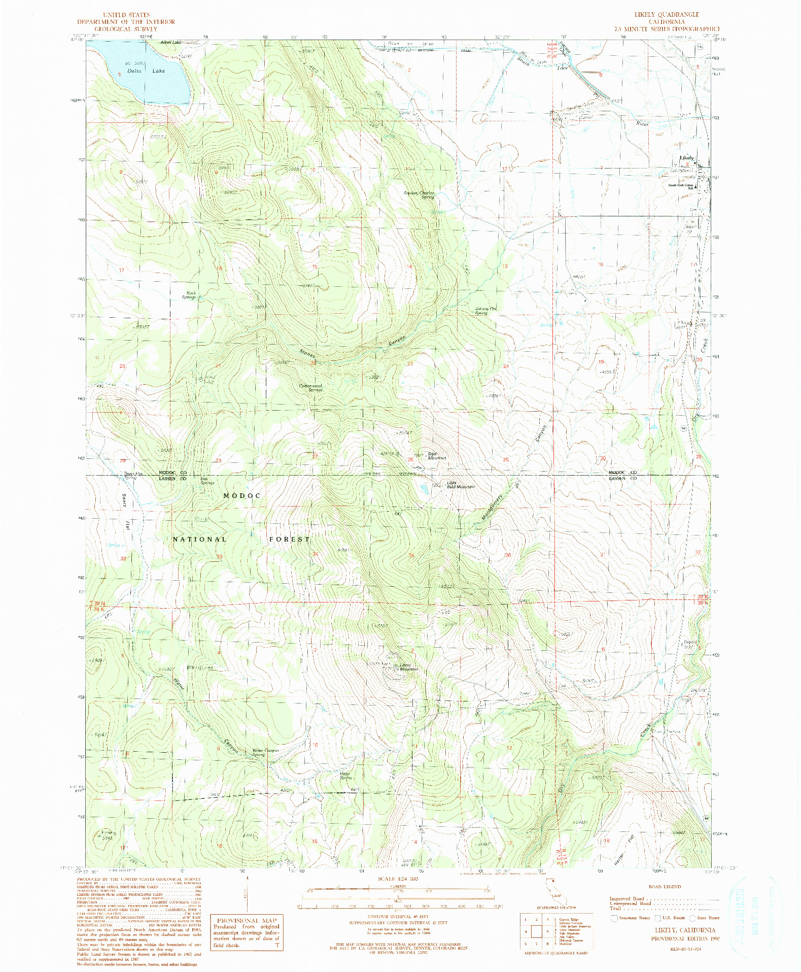 USGS 1:24000-SCALE QUADRANGLE FOR LIKELY, CA 1990