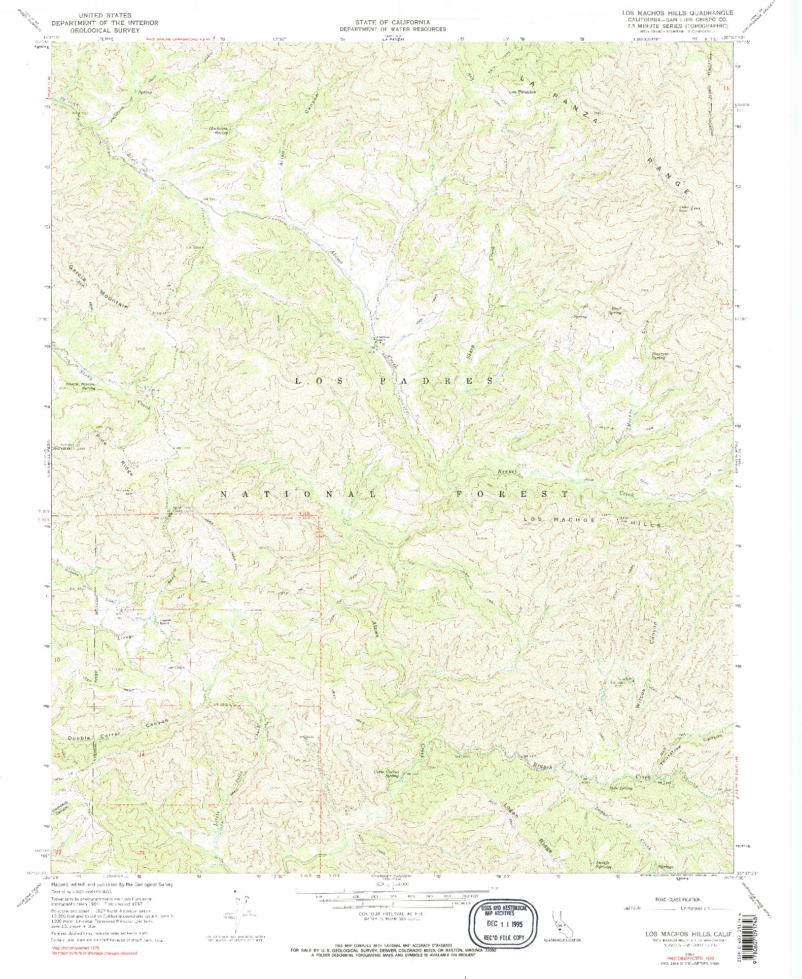 USGS 1:24000-SCALE QUADRANGLE FOR LOS MACHOS HILLS, CA 1967