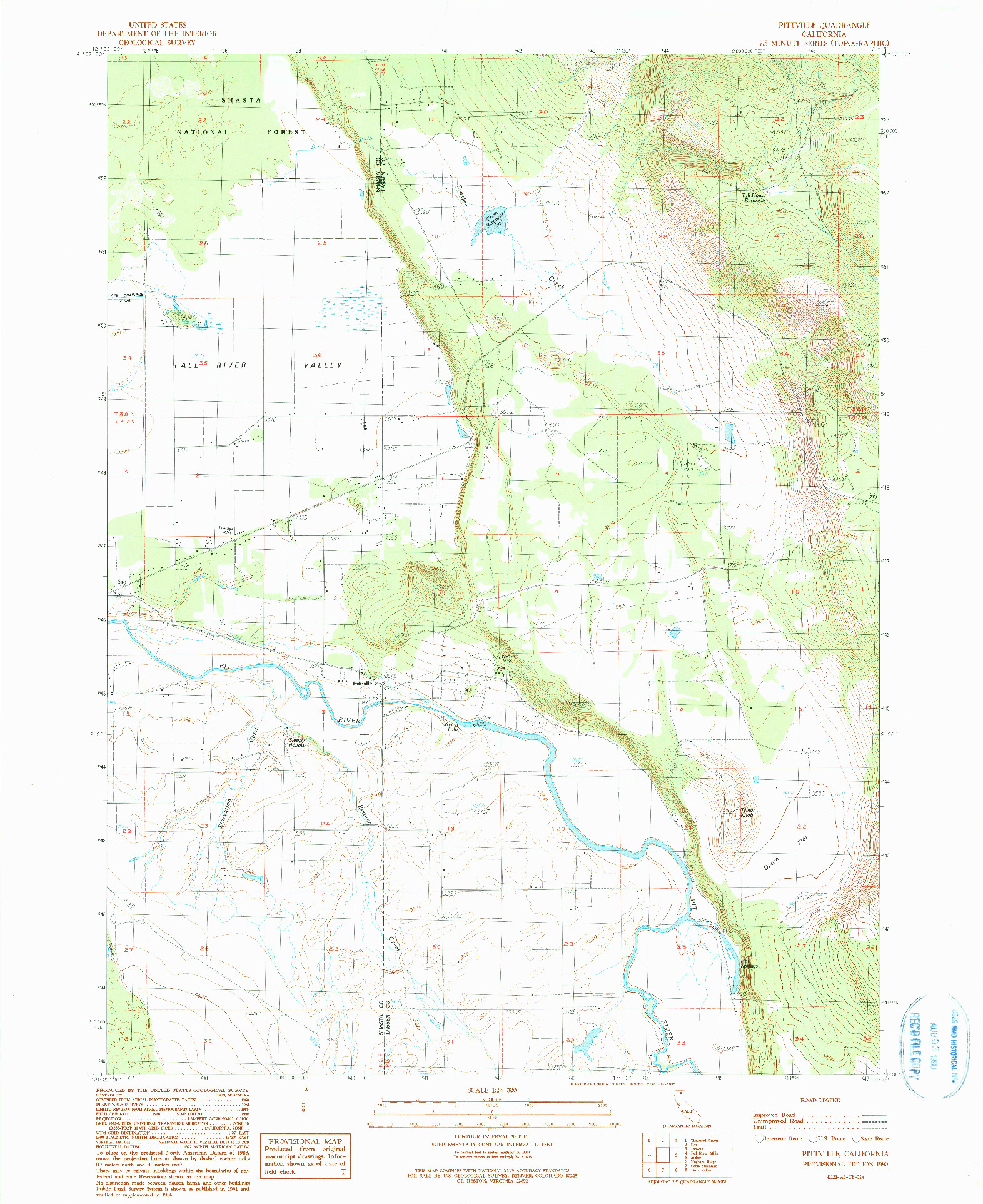 USGS 1:24000-SCALE QUADRANGLE FOR PITTVILLE, CA 1990