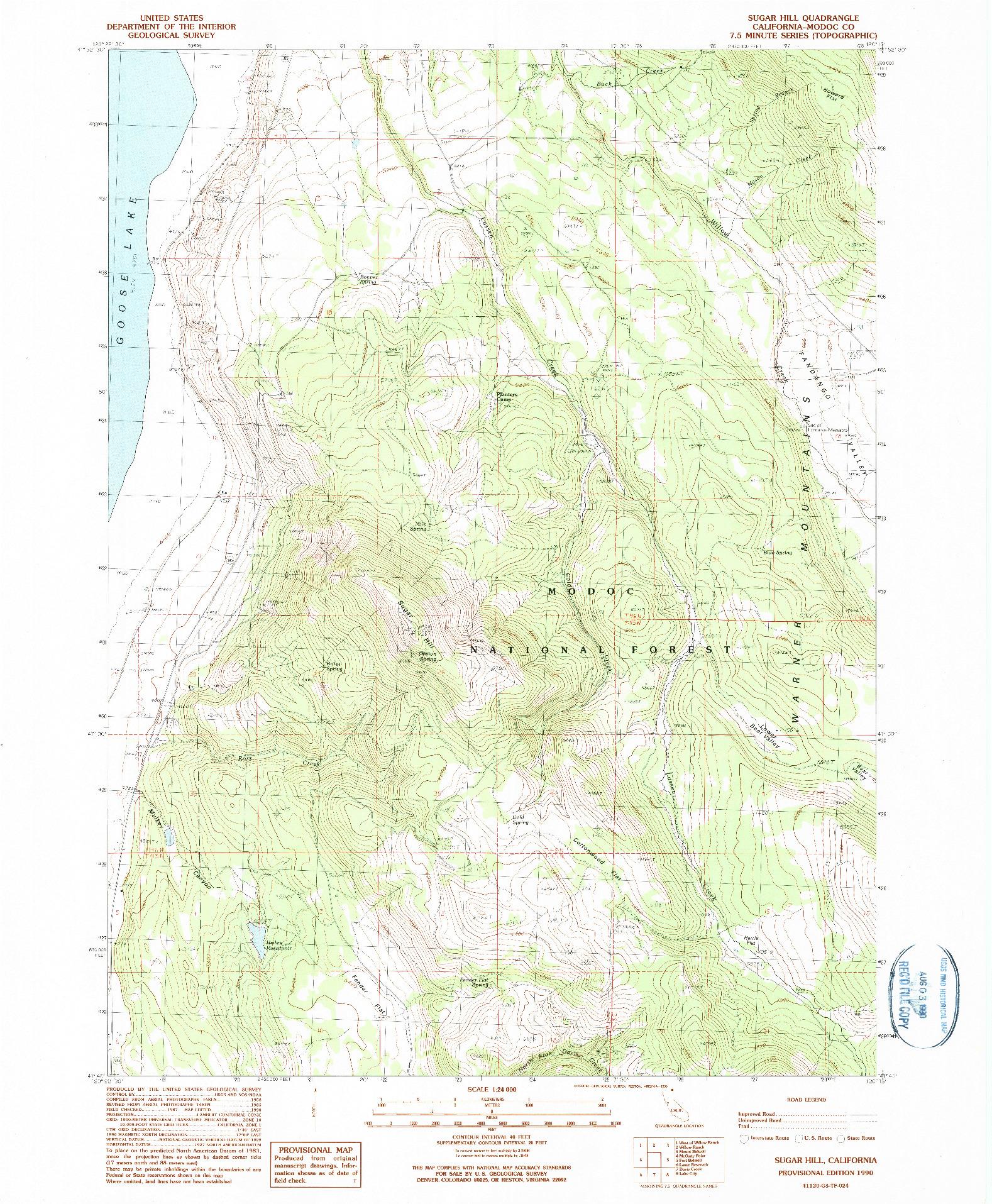 USGS 1:24000-SCALE QUADRANGLE FOR SUGAR HILL, CA 1990