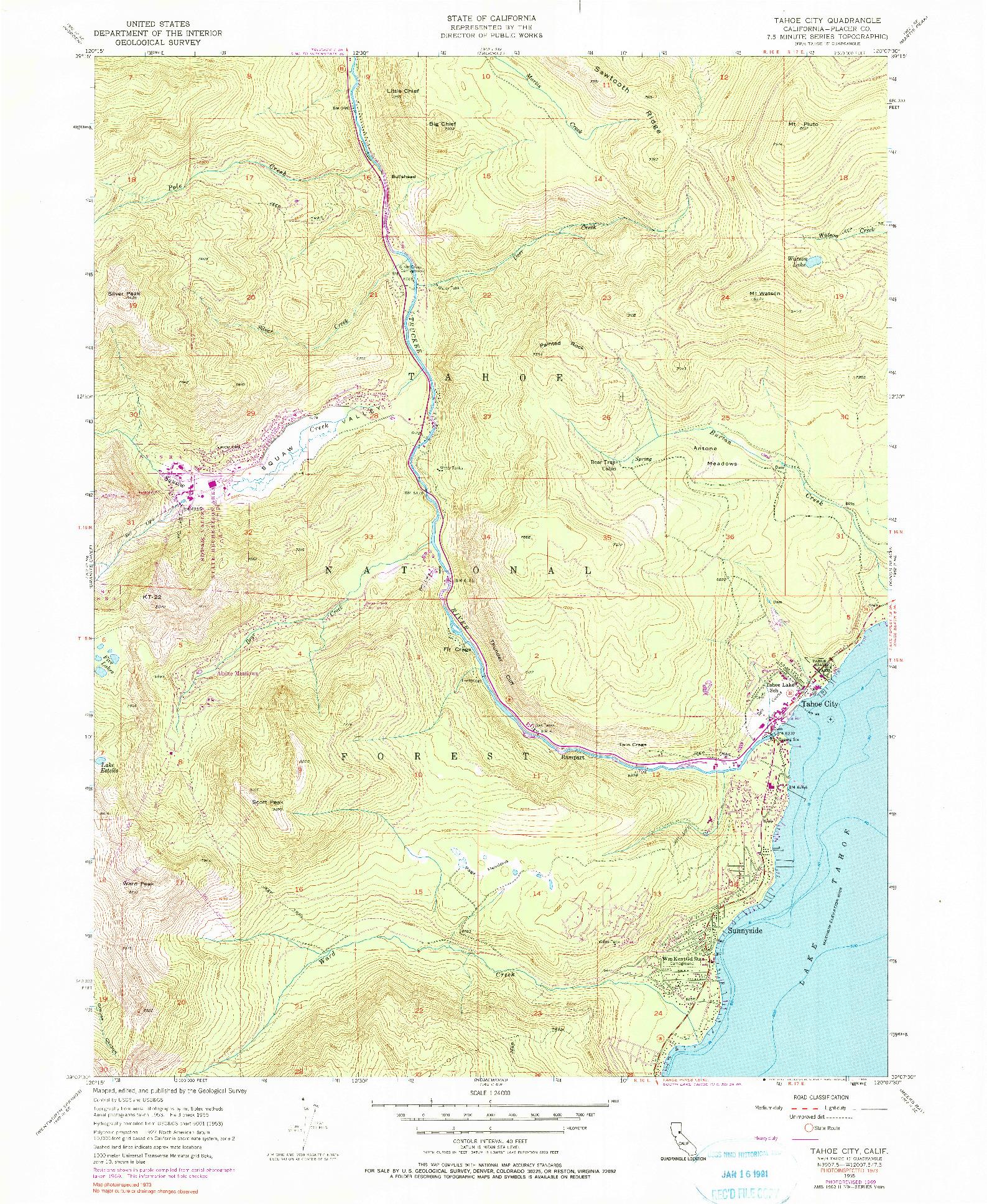 USGS 1:24000-SCALE QUADRANGLE FOR TAHOE CITY, CA 1955
