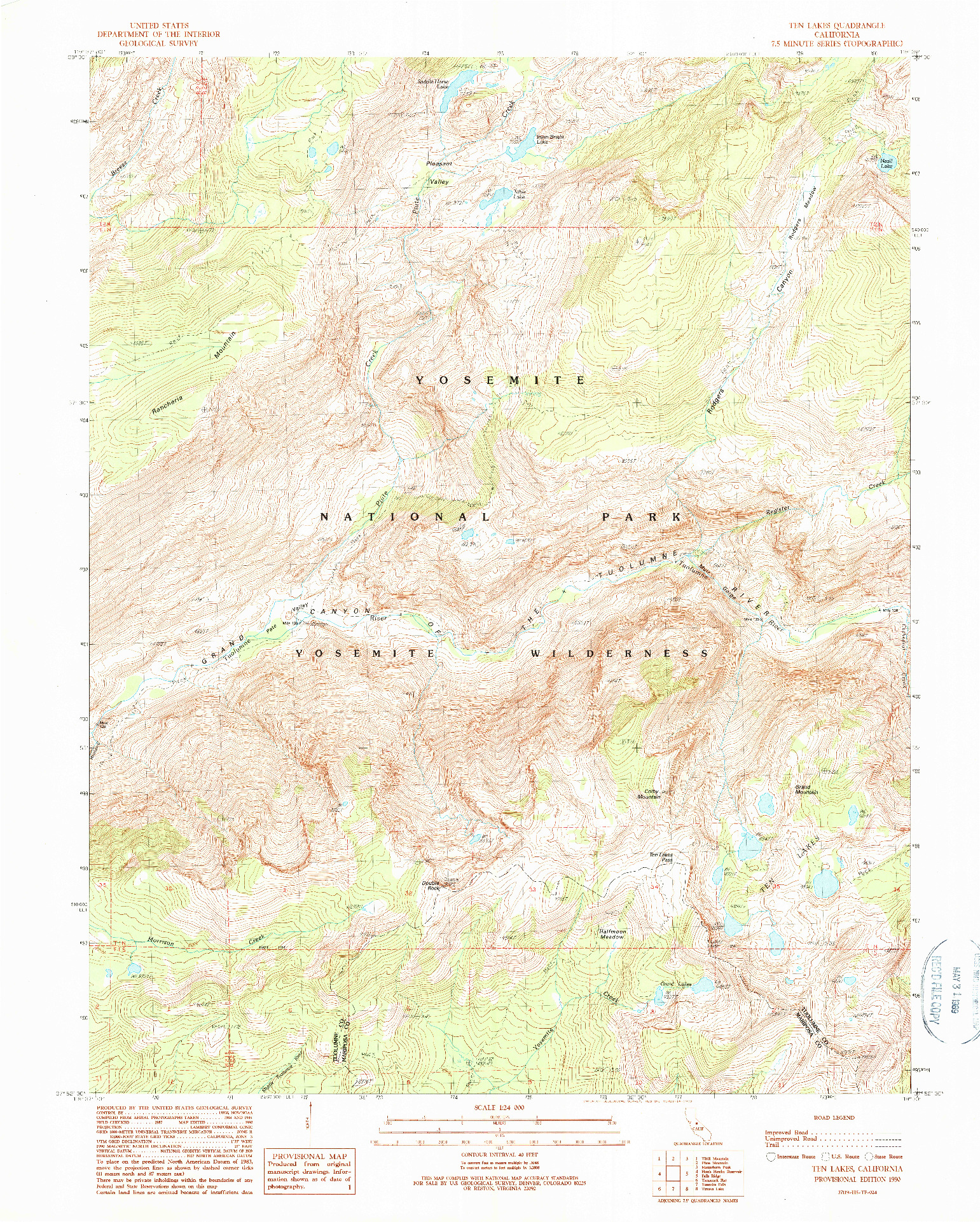 USGS 1:24000-SCALE QUADRANGLE FOR TEN LAKES, CA 1990
