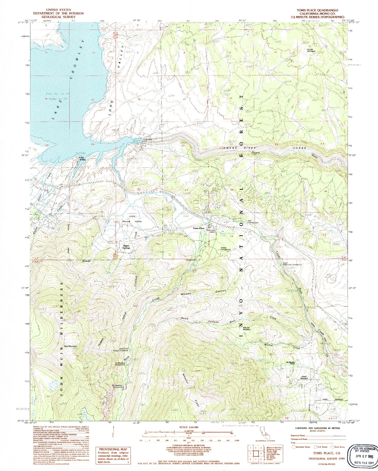 USGS 1:24000-SCALE QUADRANGLE FOR TOMS PLACE, CA 1990