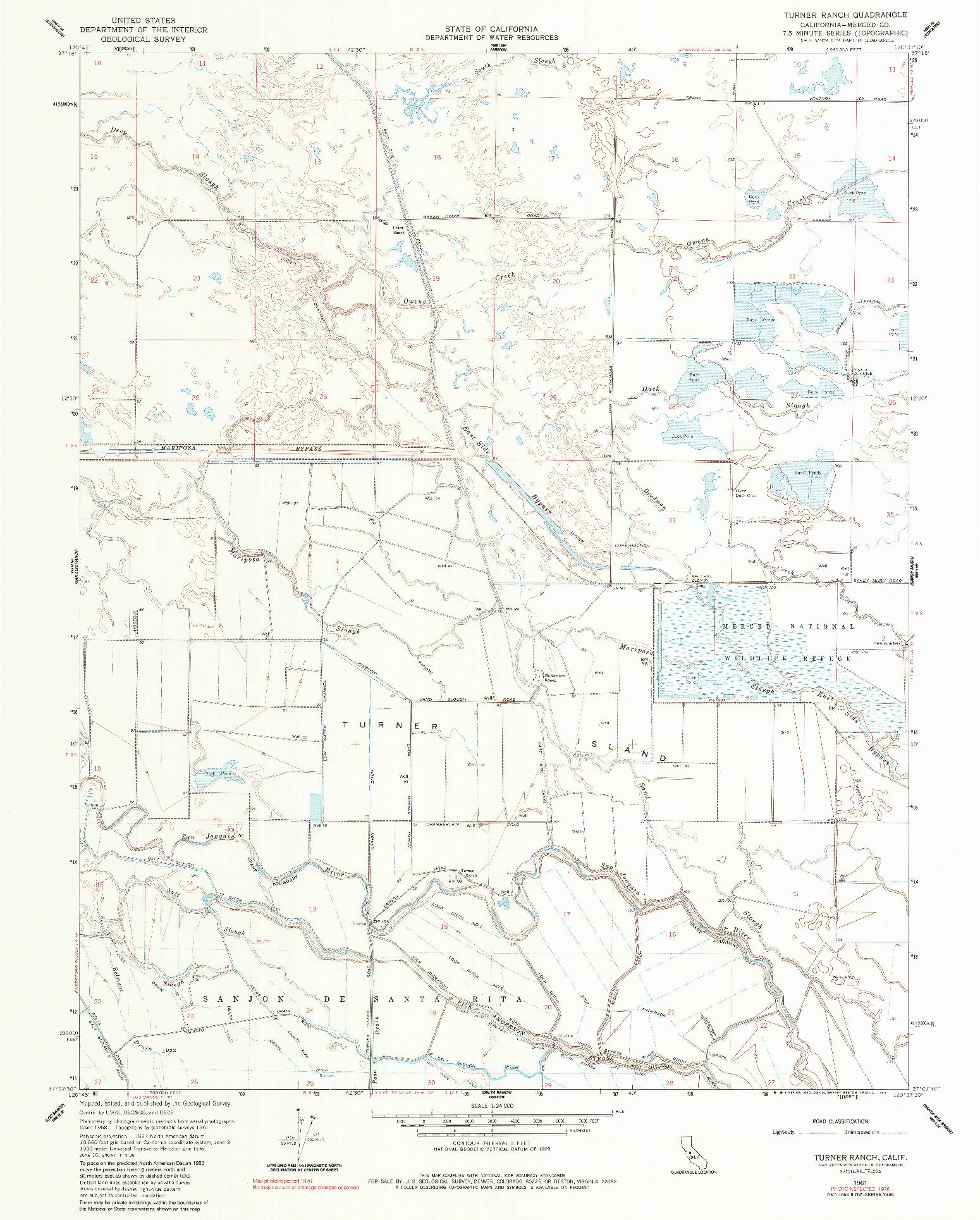 USGS 1:24000-SCALE QUADRANGLE FOR TURNER RANCH, CA 1961