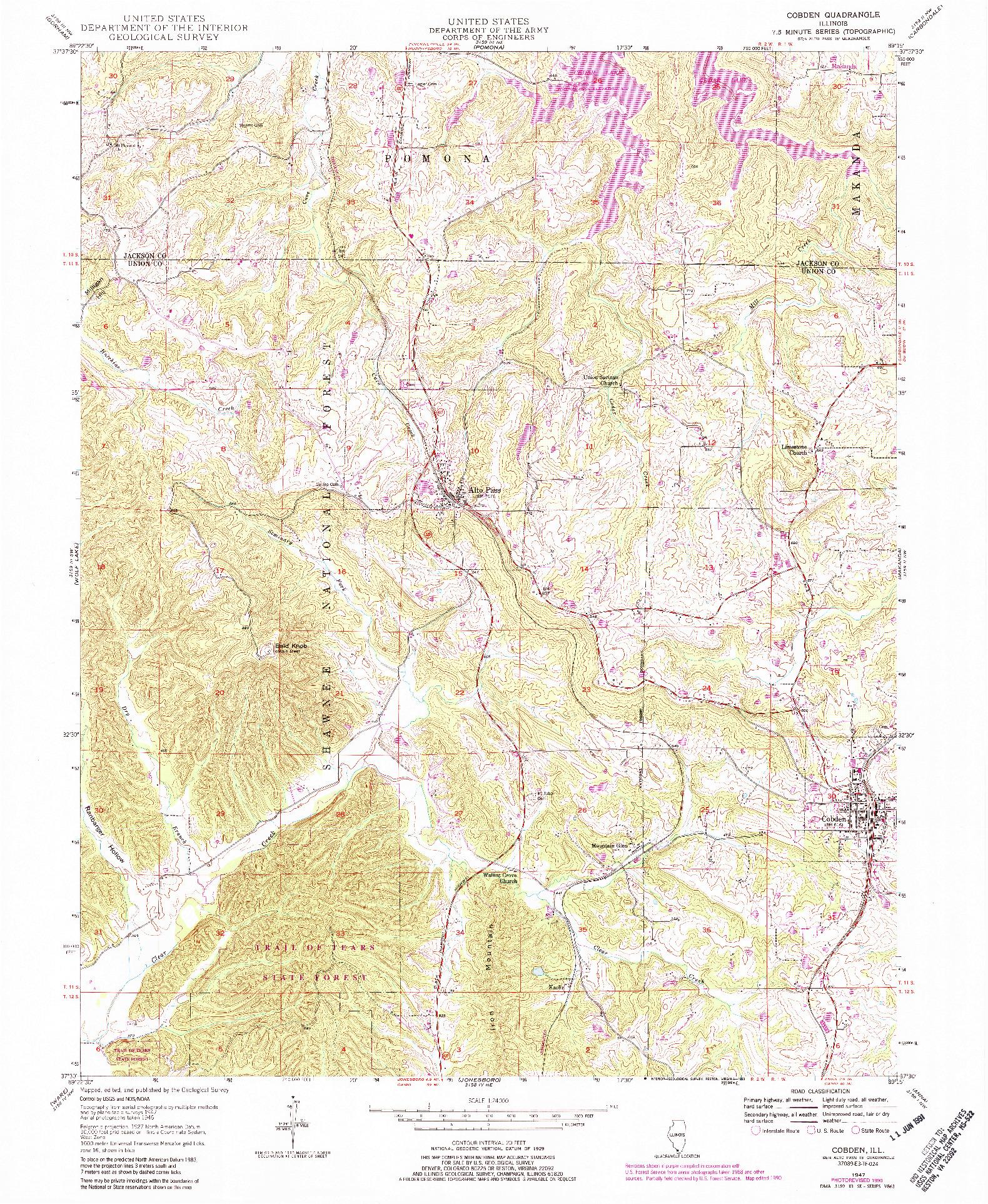 USGS 1:24000-SCALE QUADRANGLE FOR COBDEN, IL 1947