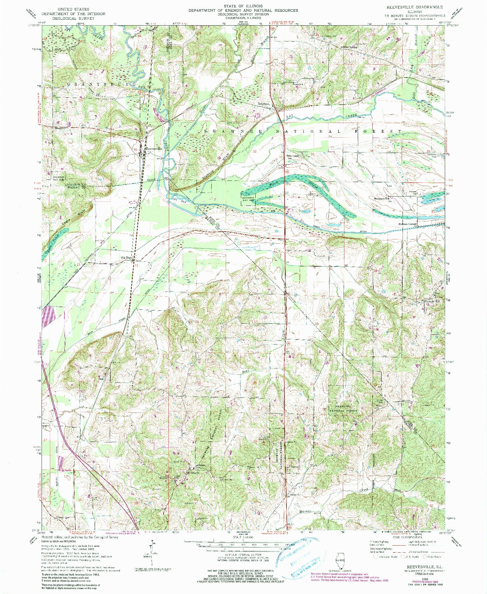 USGS 1:24000-SCALE QUADRANGLE FOR REEVESVILLE, IL 1962