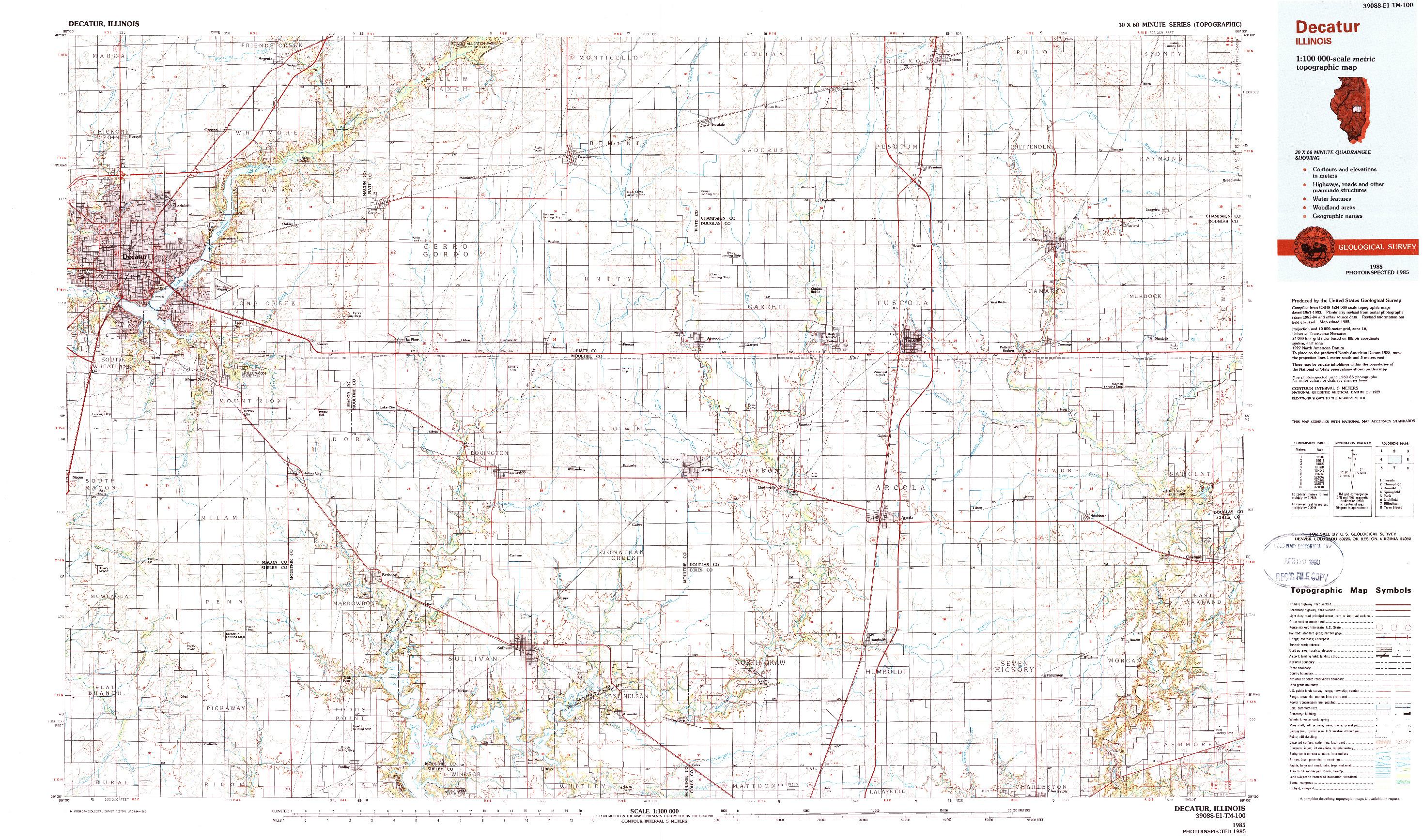 USGS 1:100000-SCALE QUADRANGLE FOR DECATUR, IL 1985