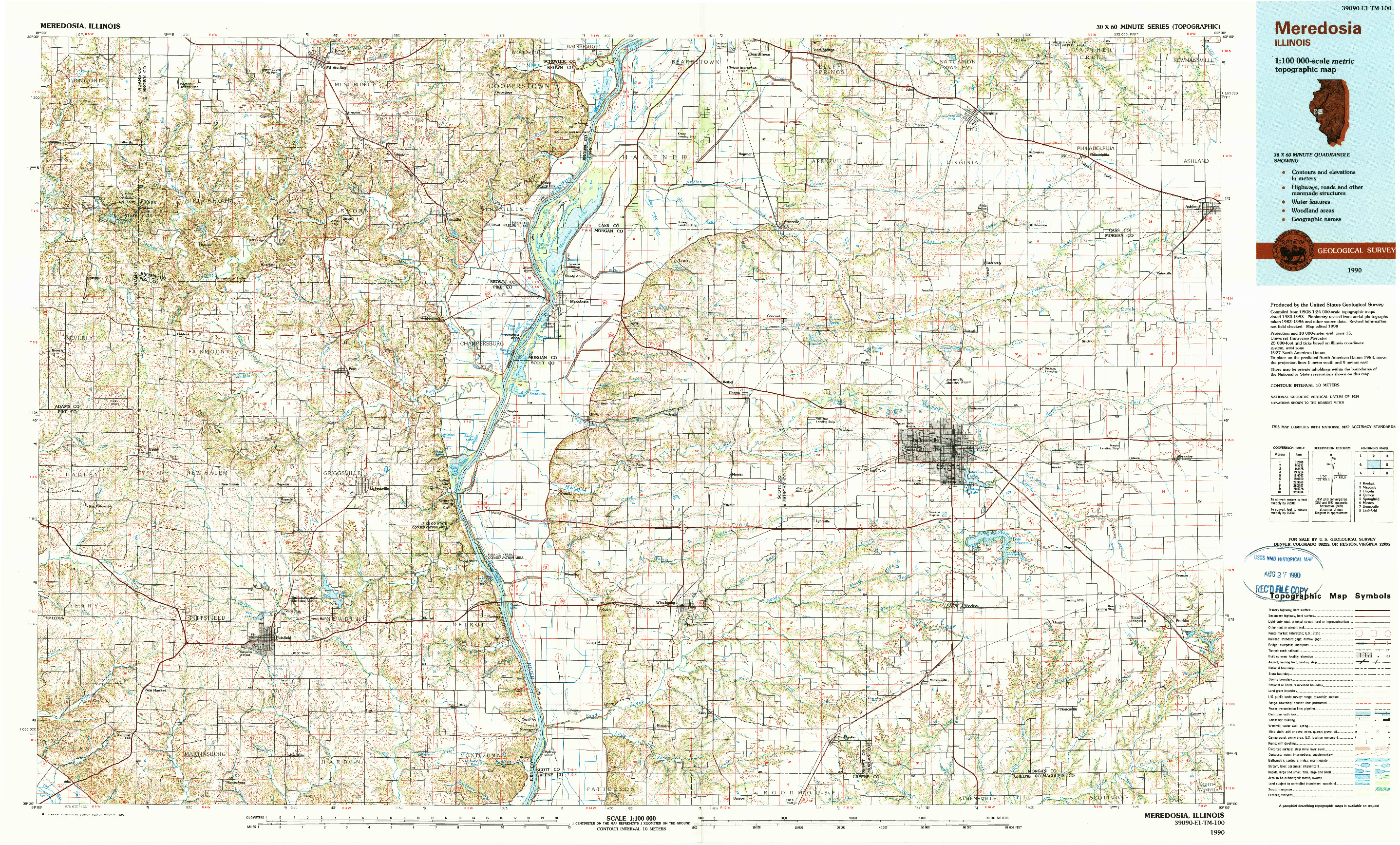 USGS 1:100000-SCALE QUADRANGLE FOR MEREDOSIA, IL 1990