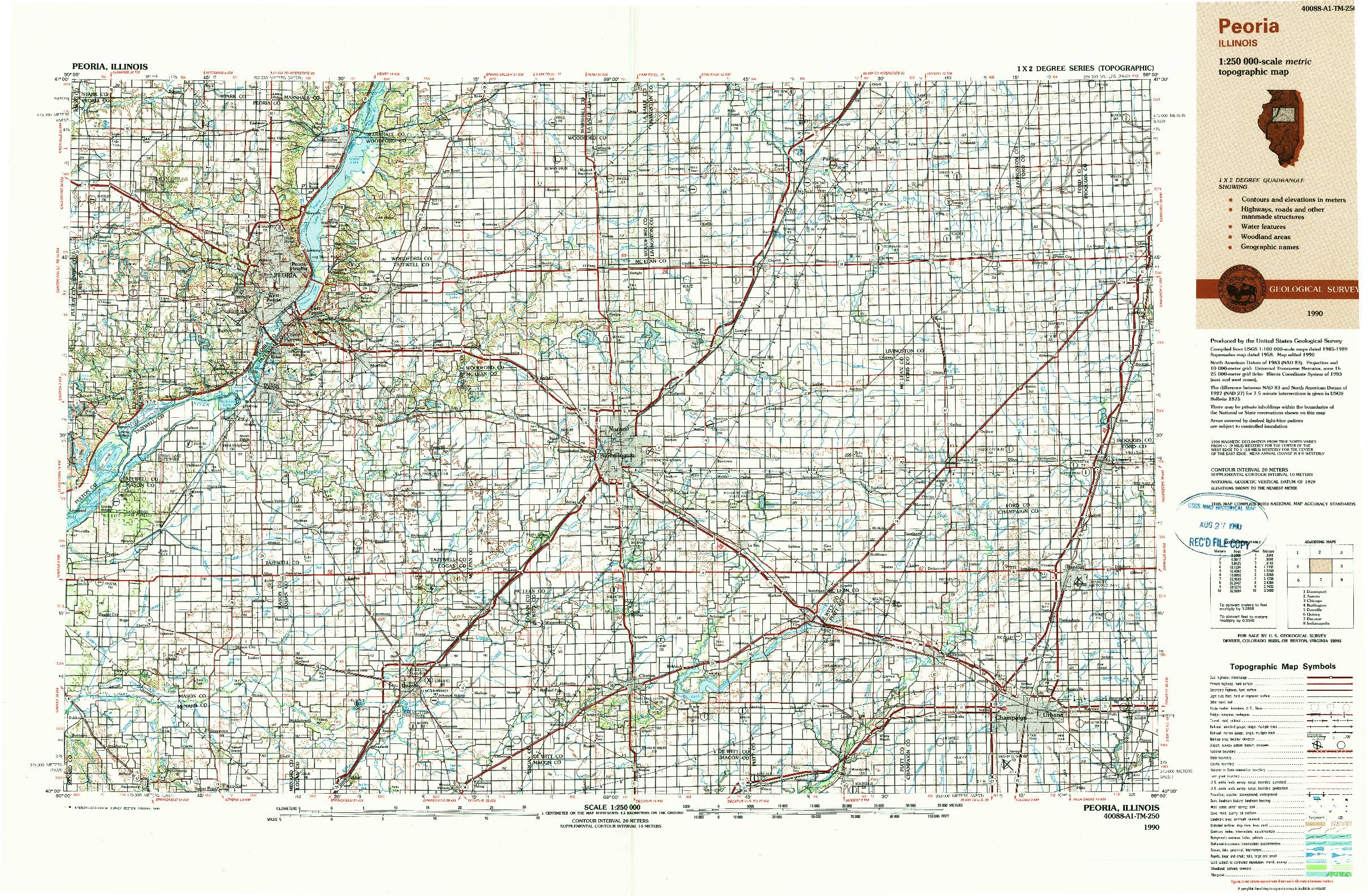 USGS 1:250000-SCALE QUADRANGLE FOR PEORIA, IL 1990