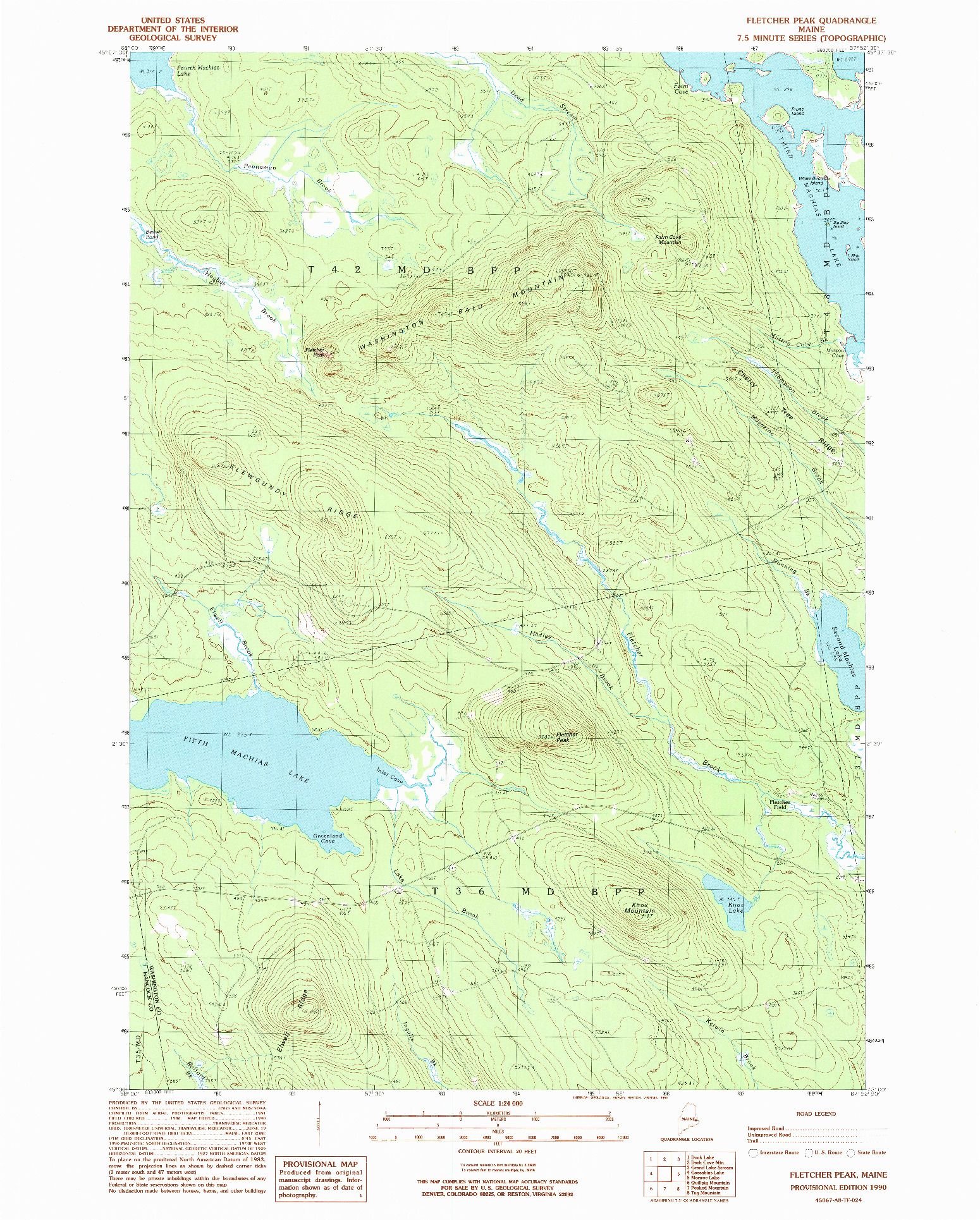 USGS 1:24000-SCALE QUADRANGLE FOR FLETCHER PEAK, ME 1990