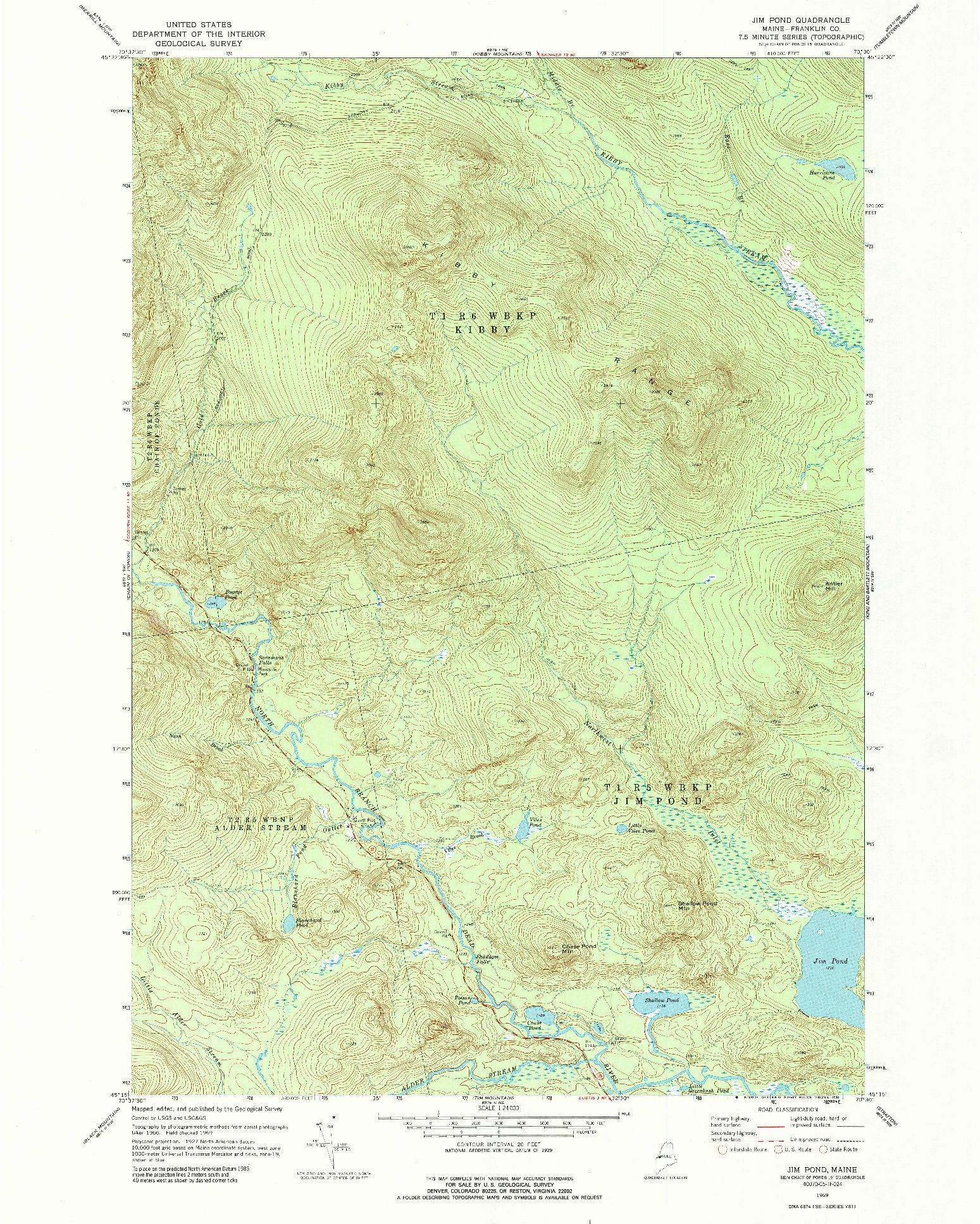 USGS 1:24000-SCALE QUADRANGLE FOR JIM POND, ME 1969