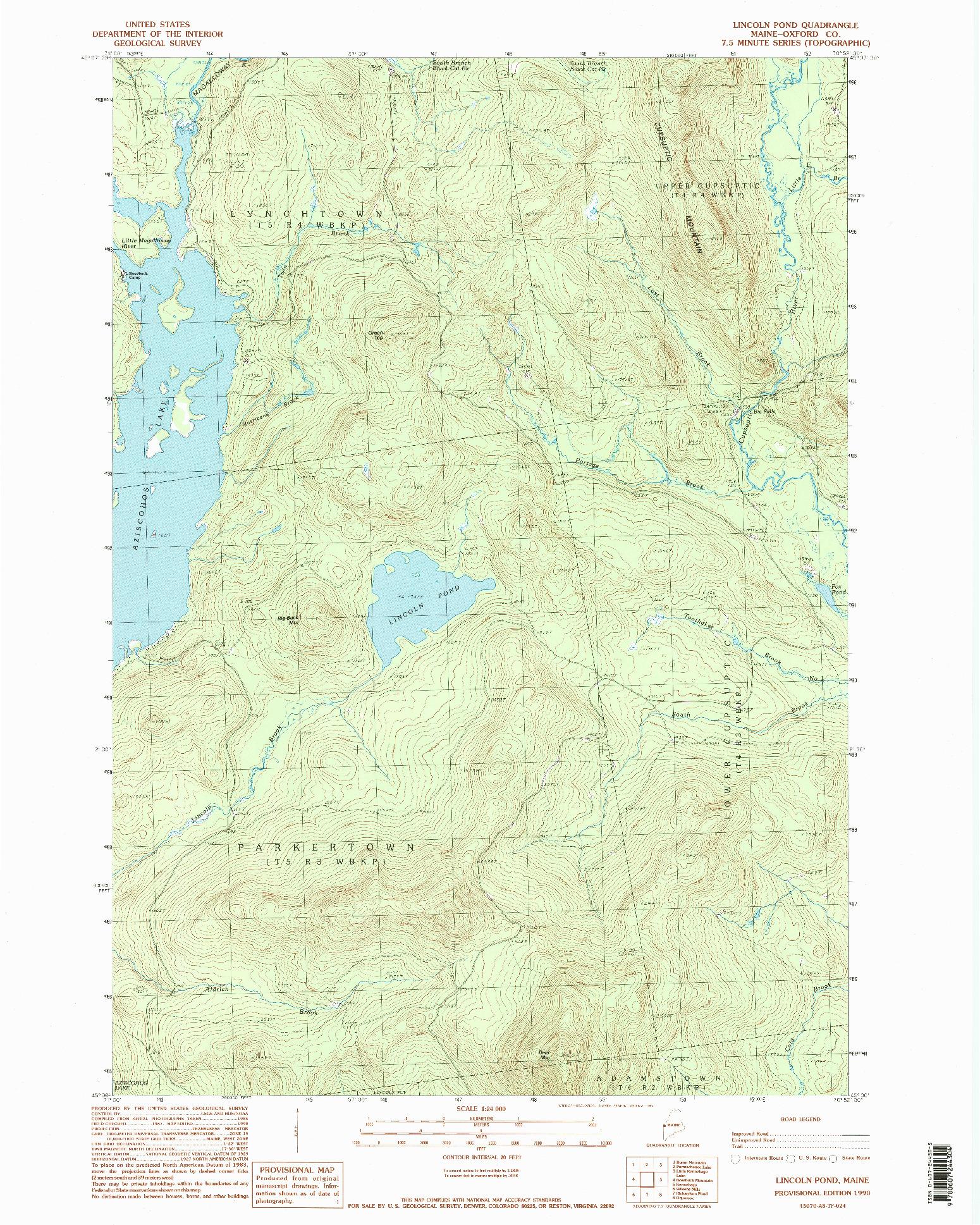 USGS 1:24000-SCALE QUADRANGLE FOR LINCOLN POND, ME 1990