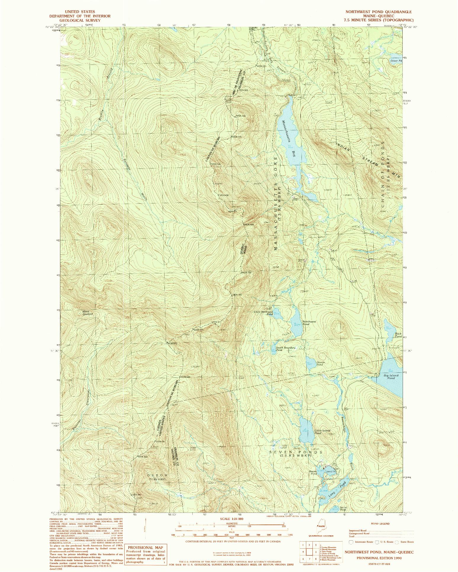 USGS 1:24000-SCALE QUADRANGLE FOR NORTHWEST POND, ME 1990