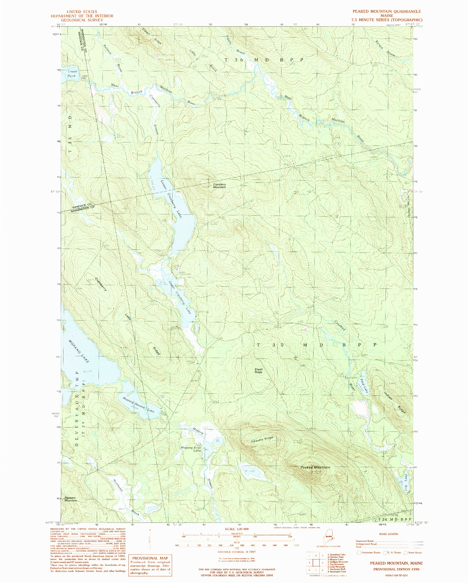 USGS 1:24000-SCALE QUADRANGLE FOR PEAKED MOUNTAIN, ME 1990