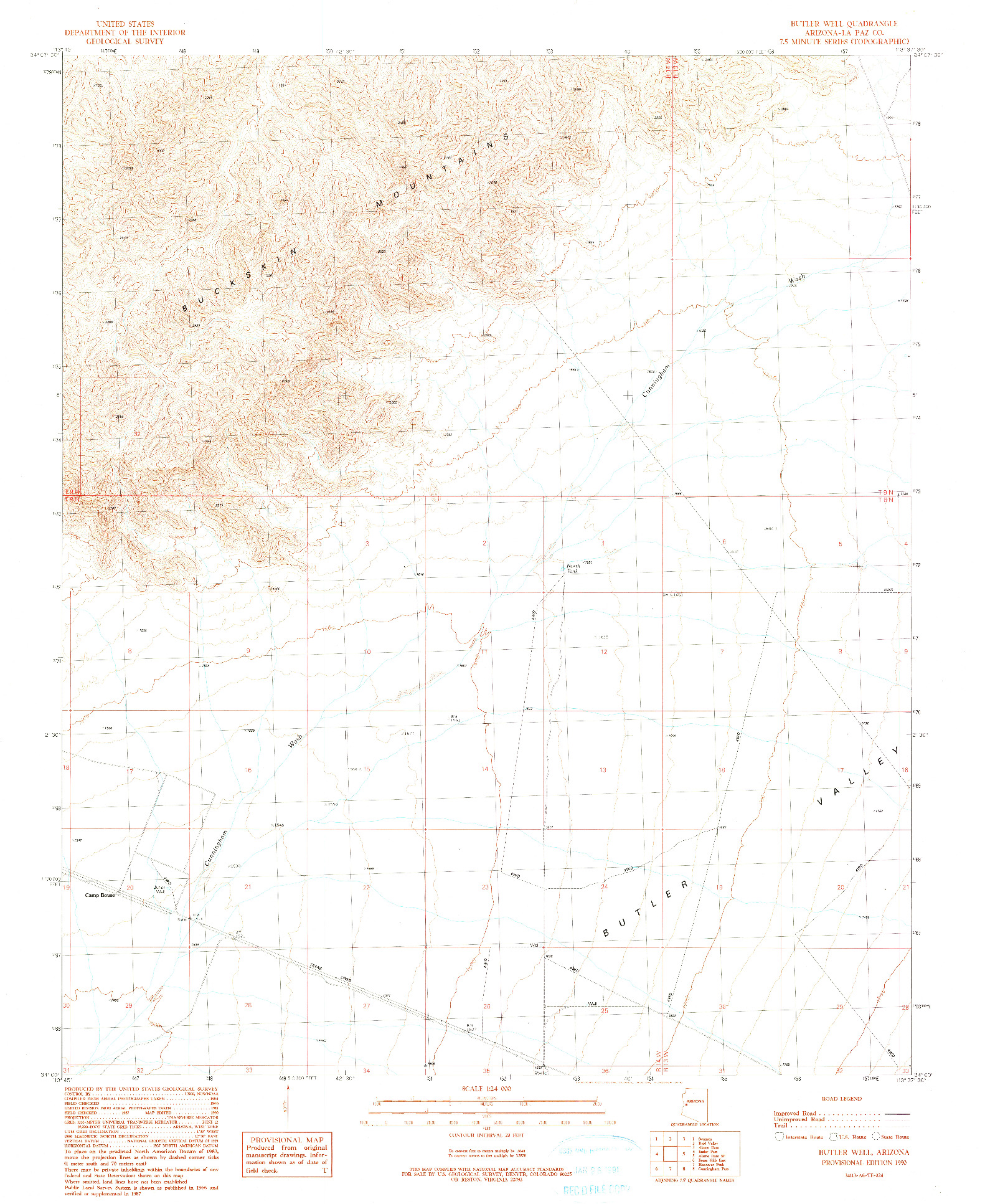 USGS 1:24000-SCALE QUADRANGLE FOR BUTLER WELL, AZ 1990