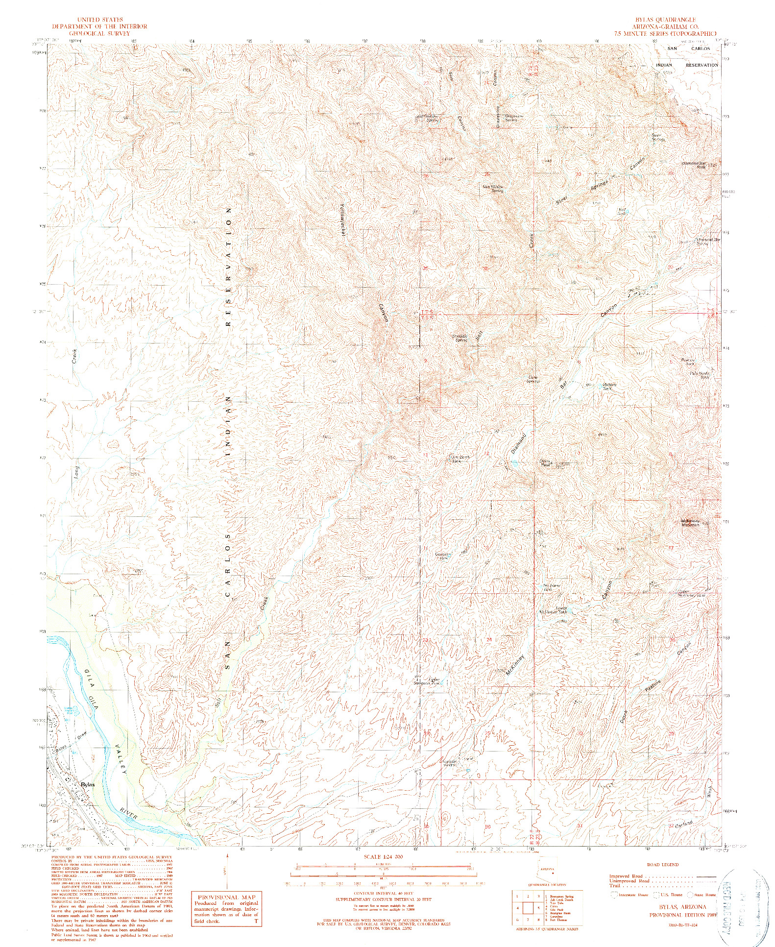 USGS 1:24000-SCALE QUADRANGLE FOR BYLAS, AZ 1989