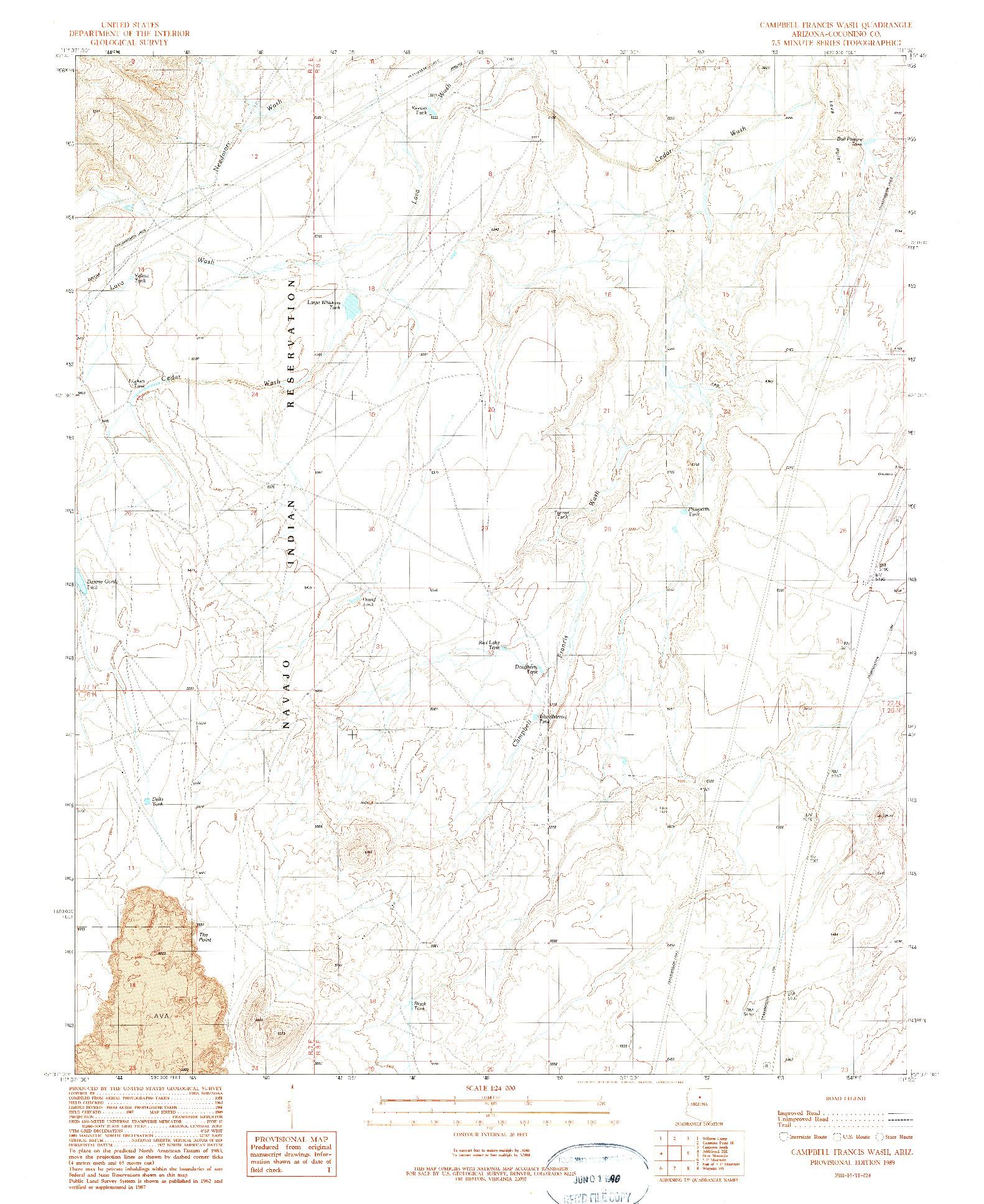 USGS 1:24000-SCALE QUADRANGLE FOR CAMPBELL FRANCIS WASH, AZ 1989