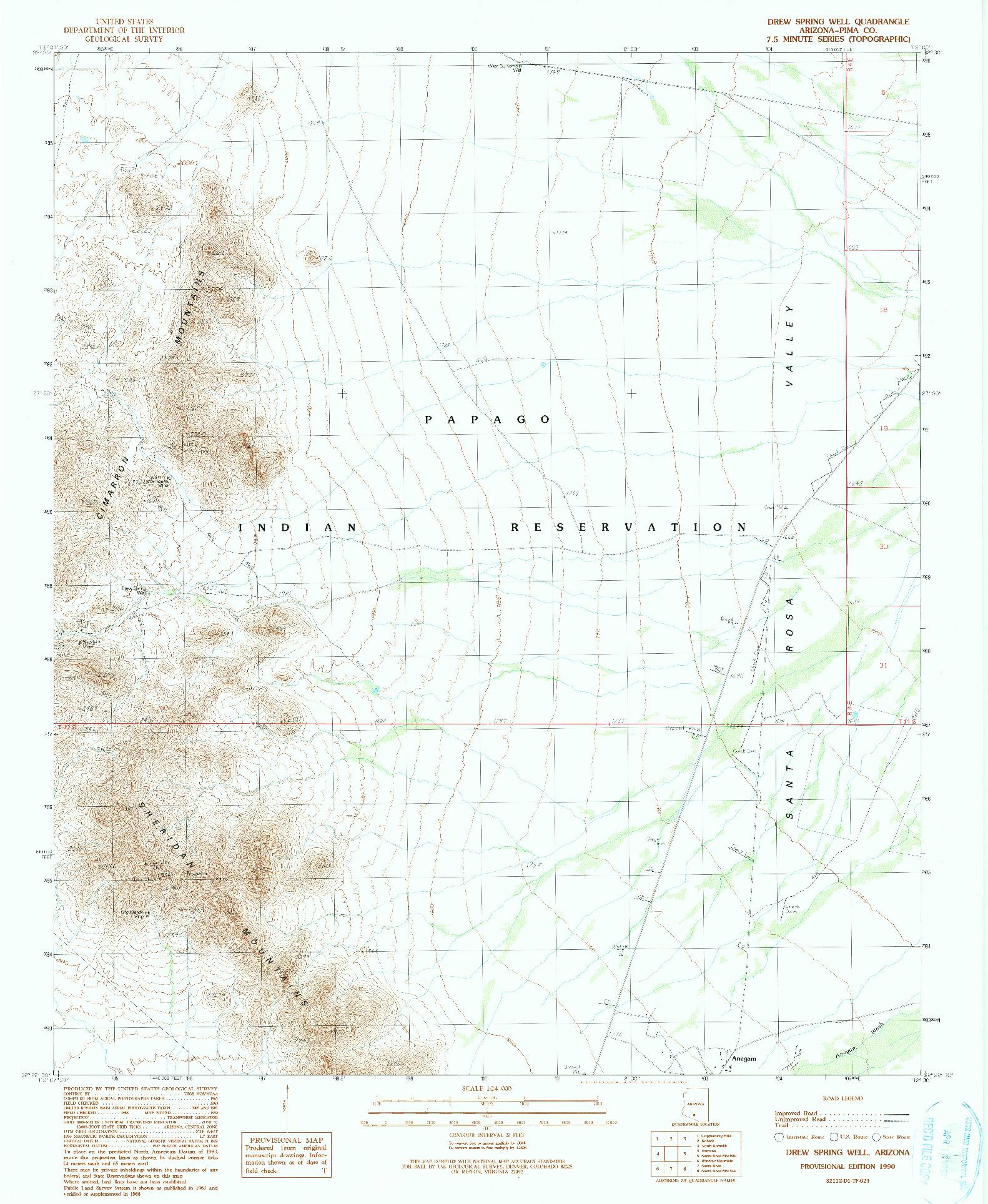 USGS 1:24000-SCALE QUADRANGLE FOR DREW SPRING WELL, AZ 1990