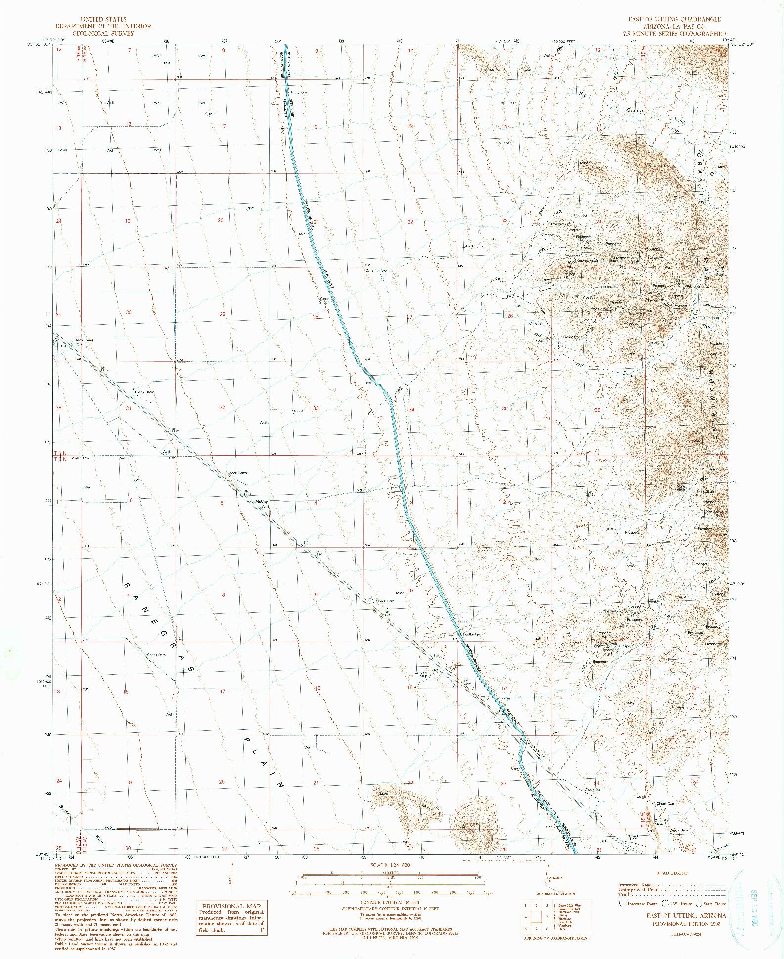 USGS 1:24000-SCALE QUADRANGLE FOR EAST OF UTTING, AZ 1990