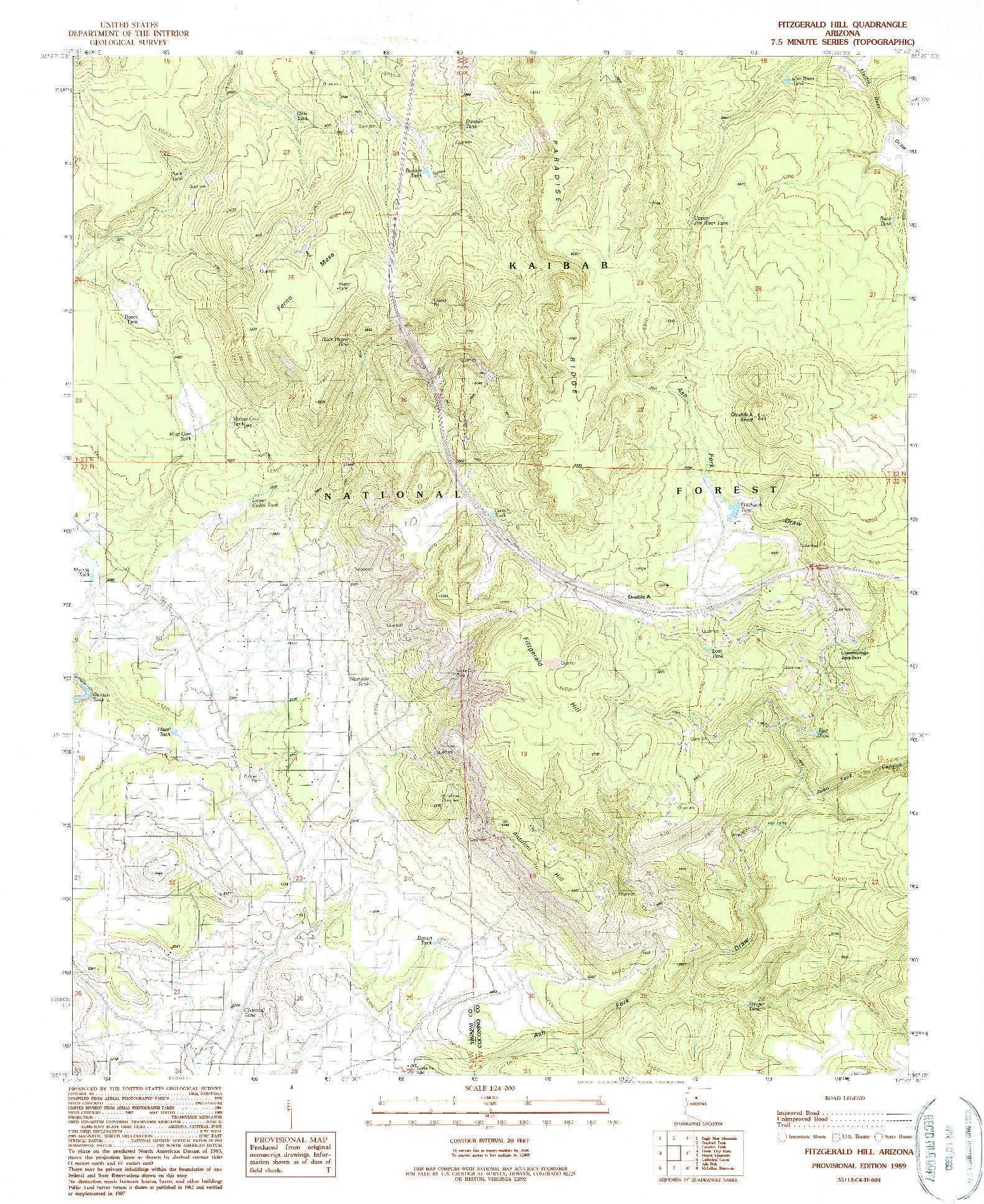USGS 1:24000-SCALE QUADRANGLE FOR FITZGERALD HILL, AZ 1989