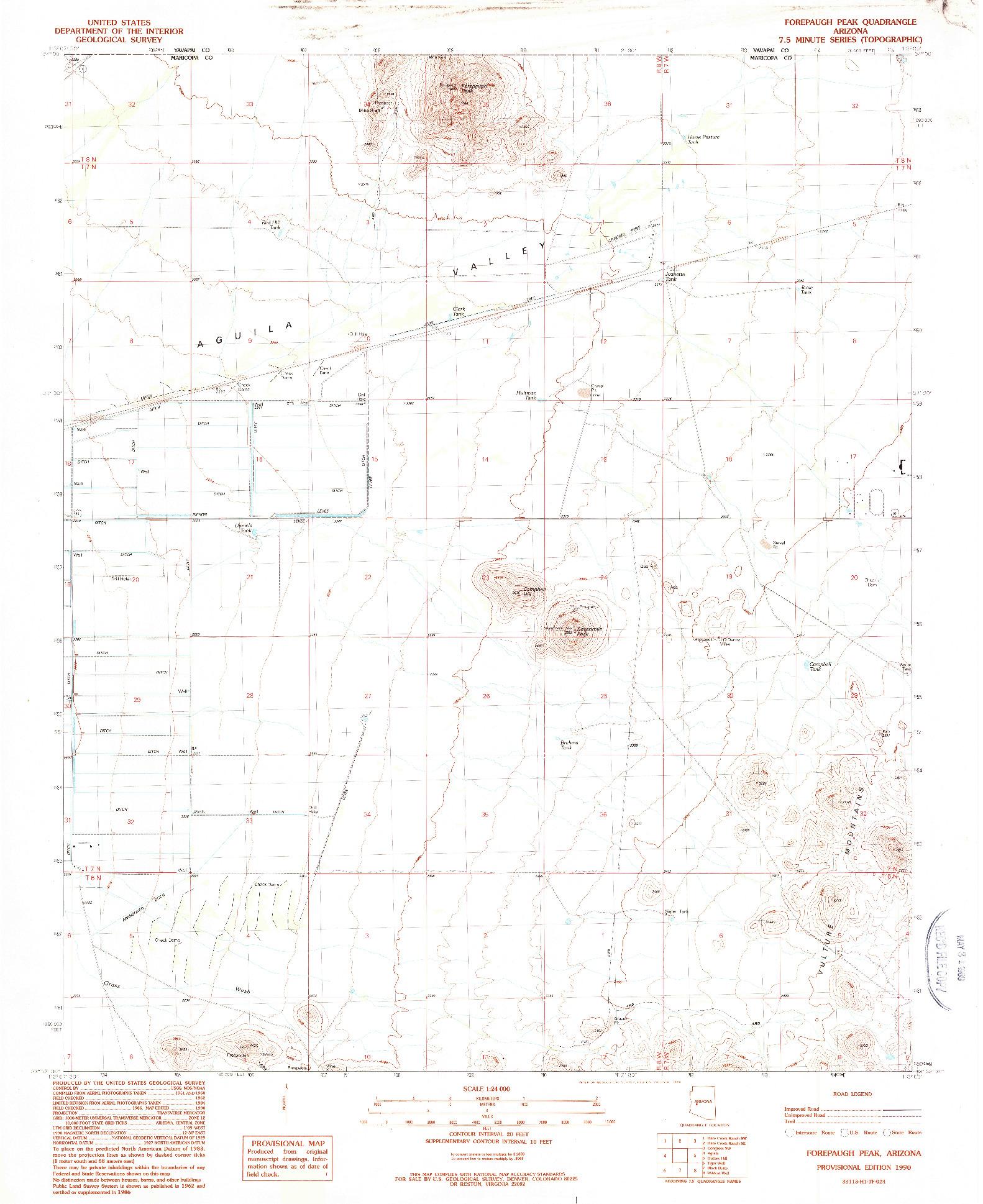 USGS 1:24000-SCALE QUADRANGLE FOR FOREPAUGH PEAK, AZ 1990