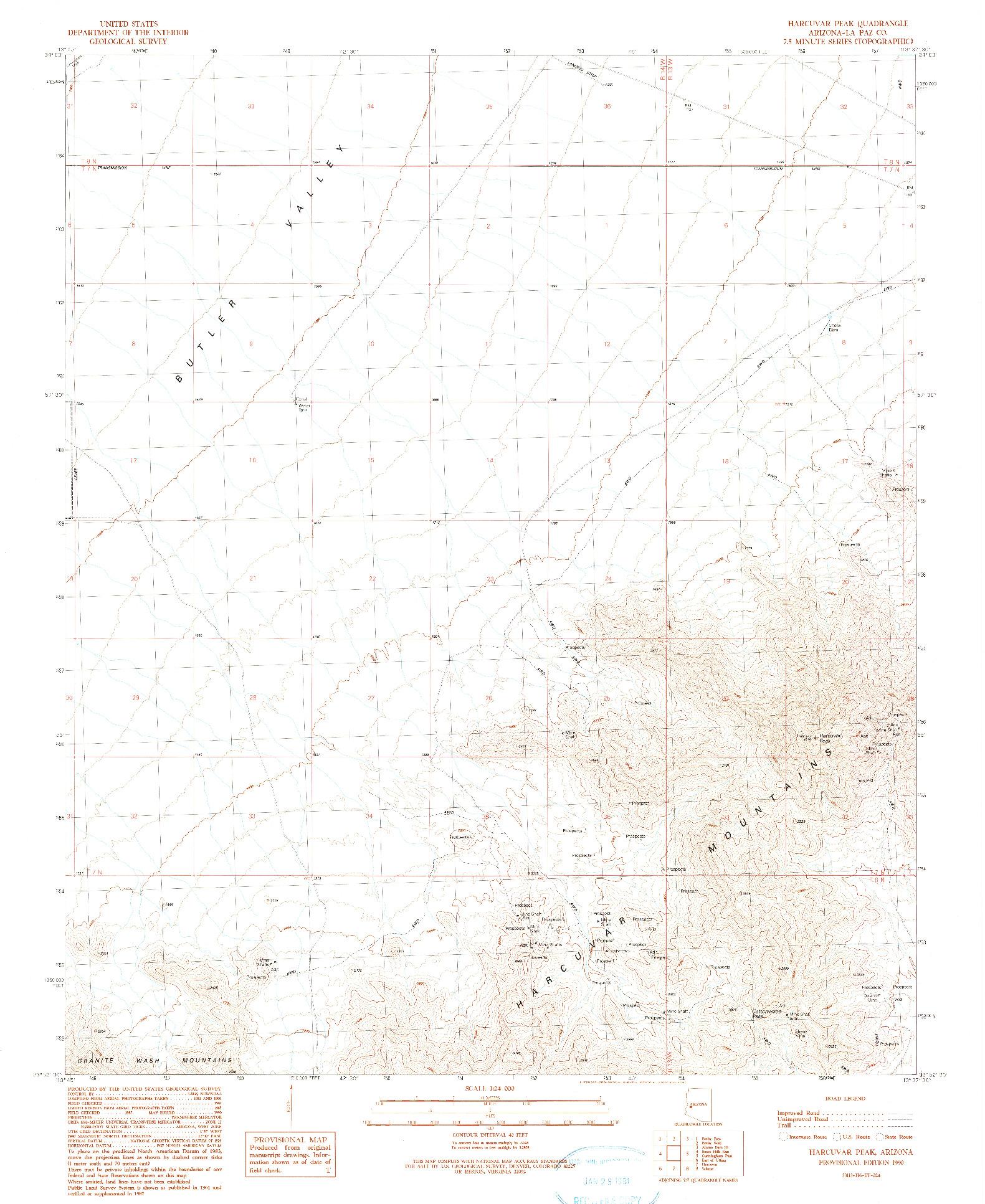 USGS 1:24000-SCALE QUADRANGLE FOR HARCUVAR PEAK, AZ 1990