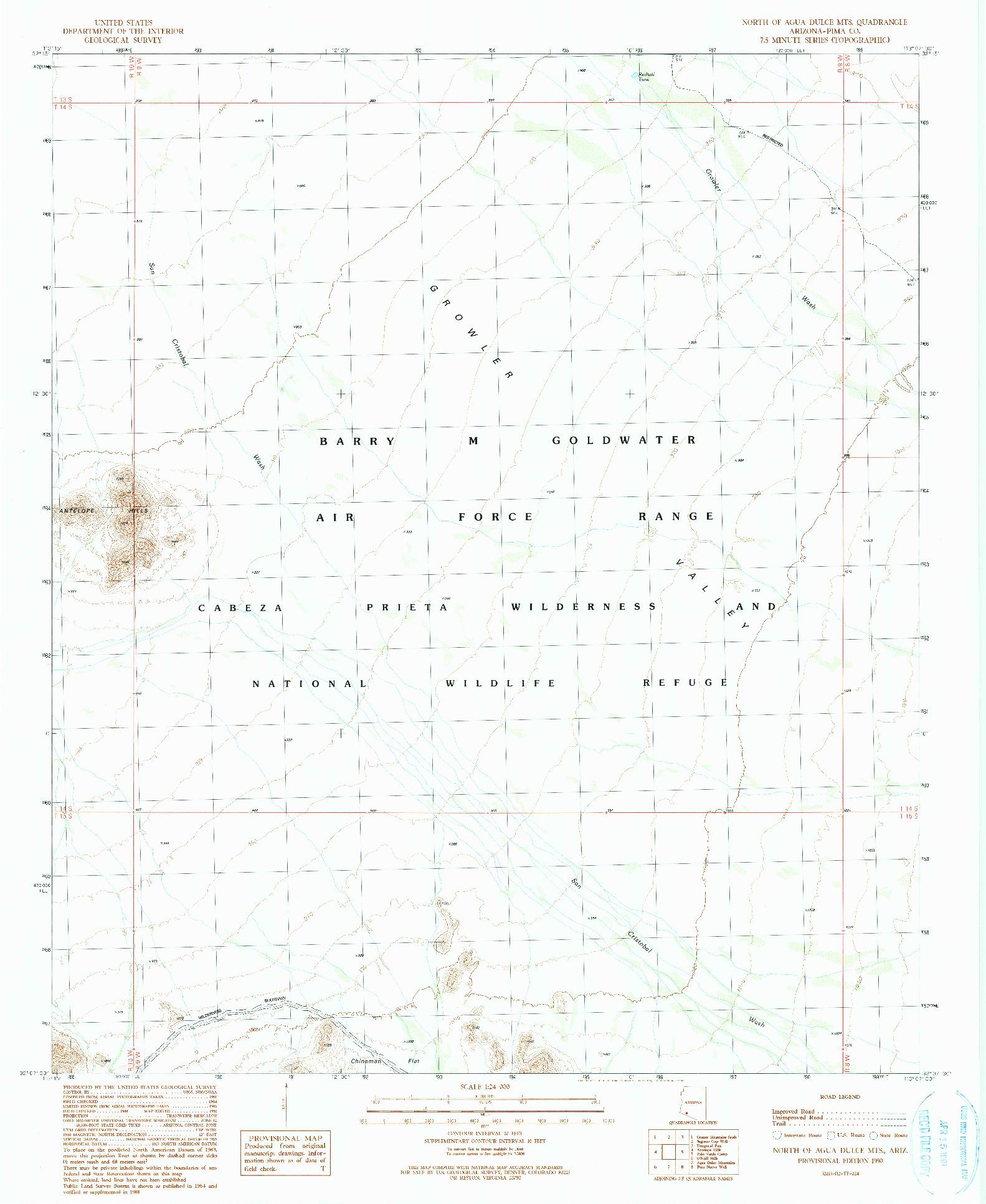 USGS 1:24000-SCALE QUADRANGLE FOR NORTH OF AGUA DULCE MOUNTAINS, AZ 1990