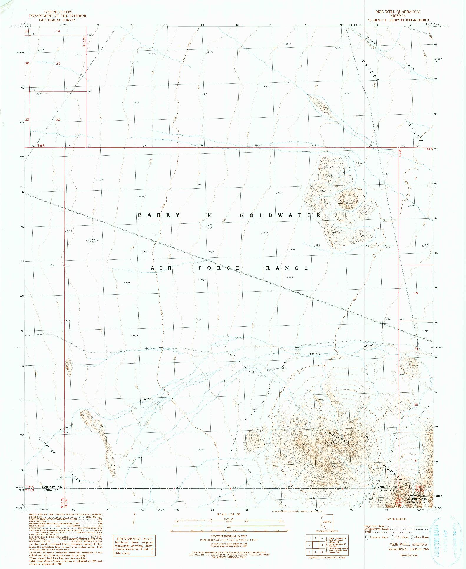 USGS 1:24000-SCALE QUADRANGLE FOR OKIE WELL, AZ 1990