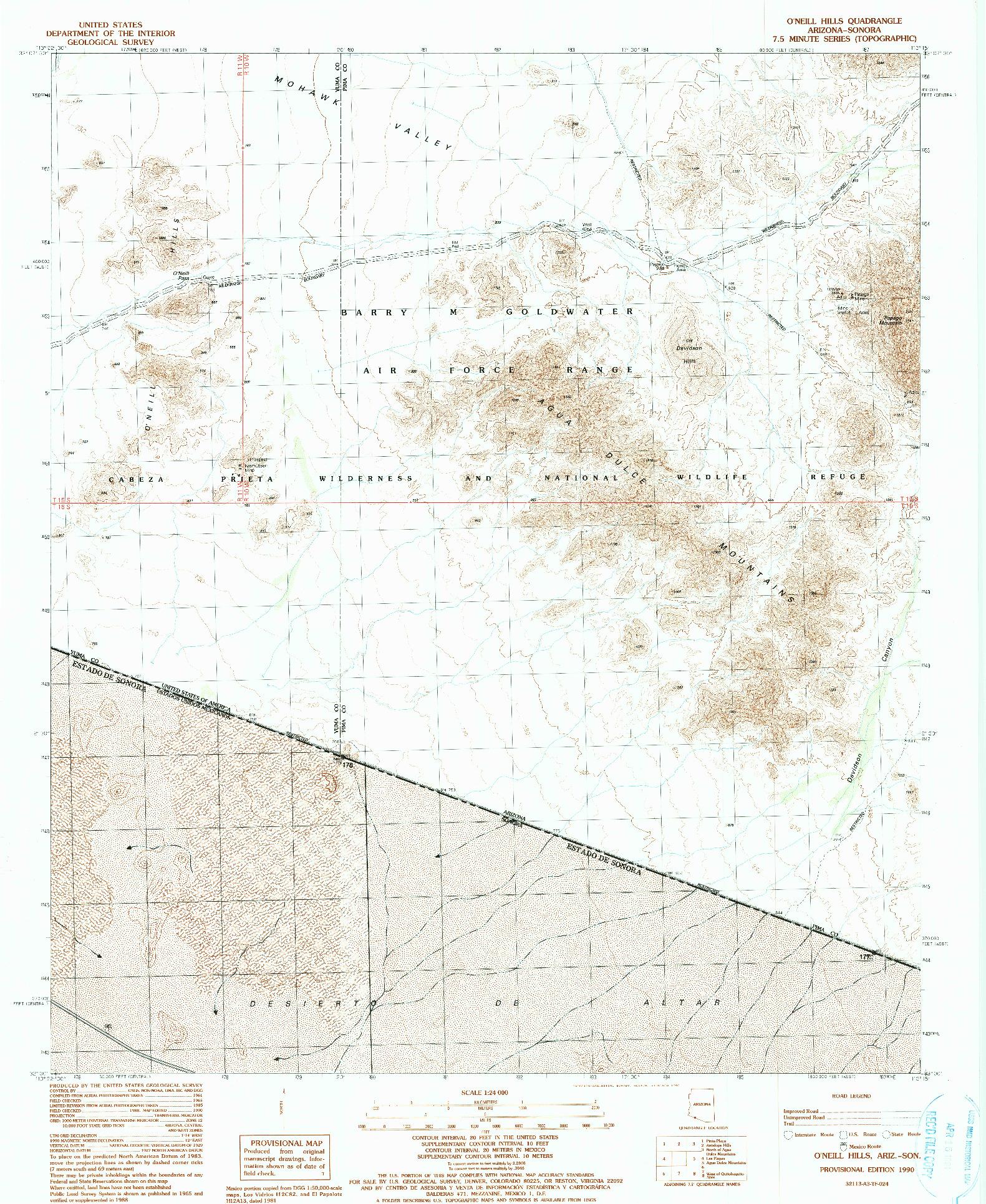 USGS 1:24000-SCALE QUADRANGLE FOR O'NEILL HILLS, AZ 1990