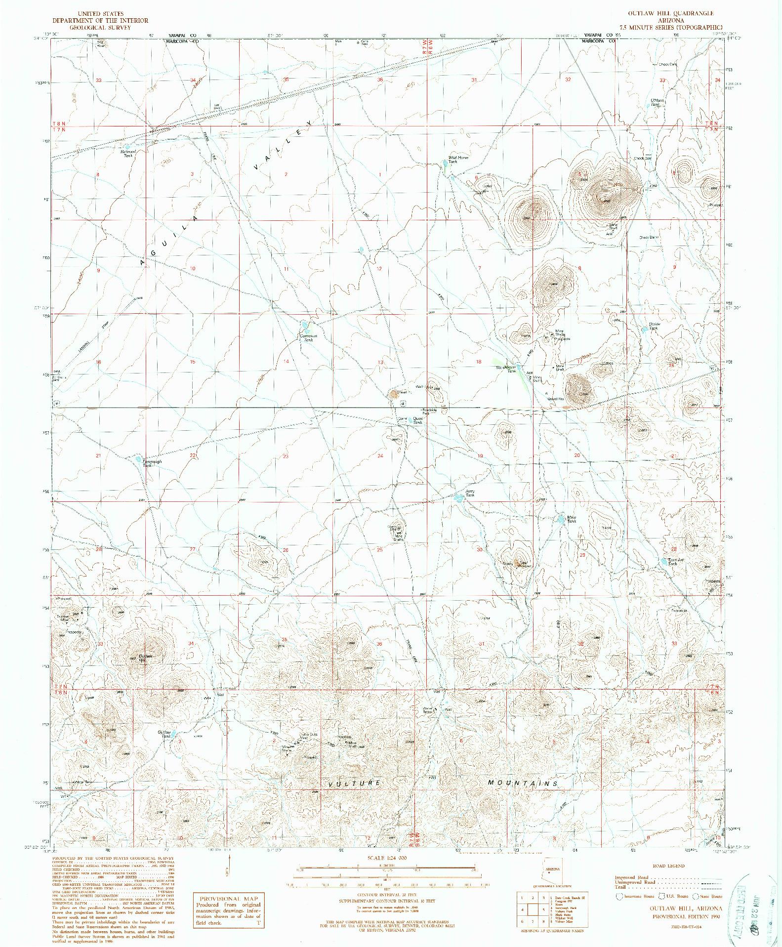 USGS 1:24000-SCALE QUADRANGLE FOR OUTLAW HILL, AZ 1990