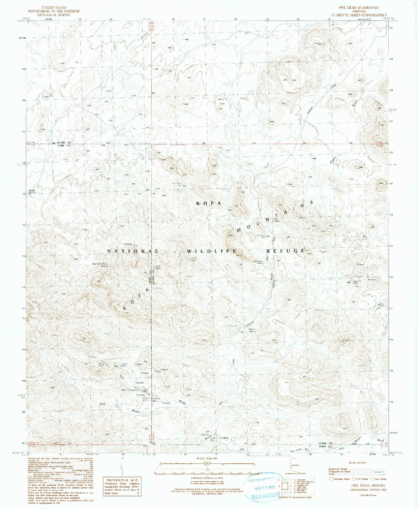 USGS 1:24000-SCALE QUADRANGLE FOR OWL HEAD, AZ 1990