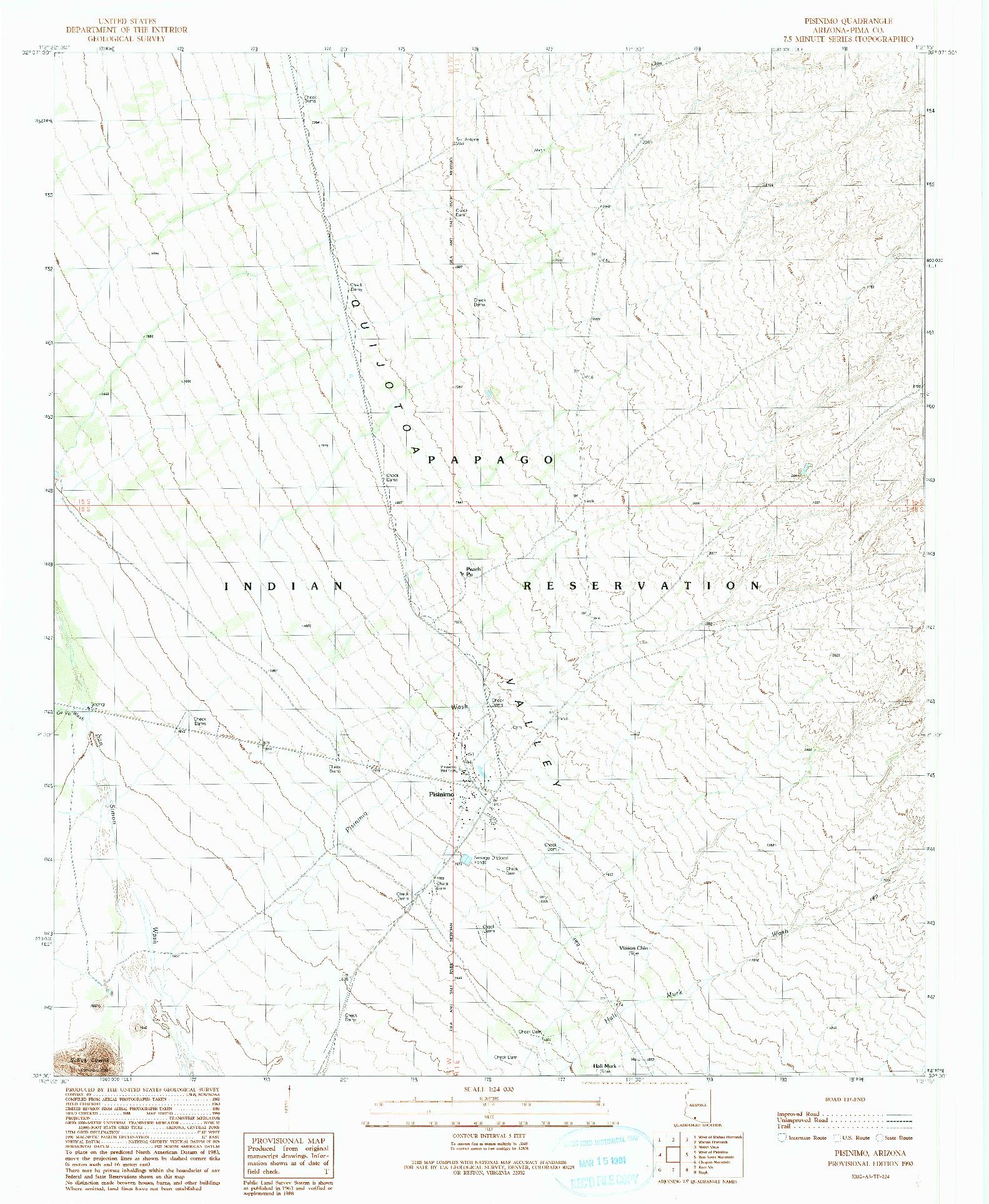 USGS 1:24000-SCALE QUADRANGLE FOR PISINIMO, AZ 1990