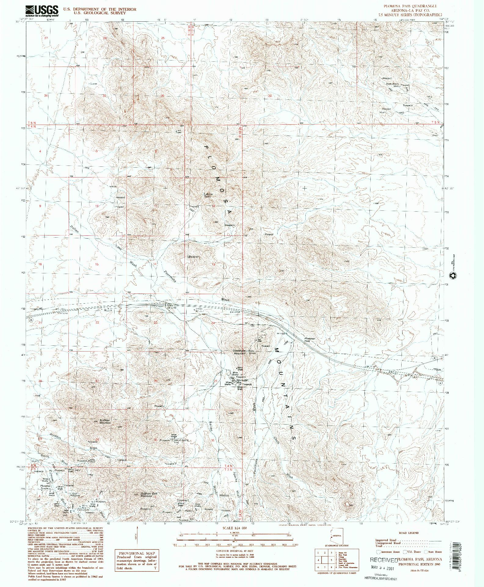 USGS 1:24000-SCALE QUADRANGLE FOR PLOMOSA PASS, AZ 1990