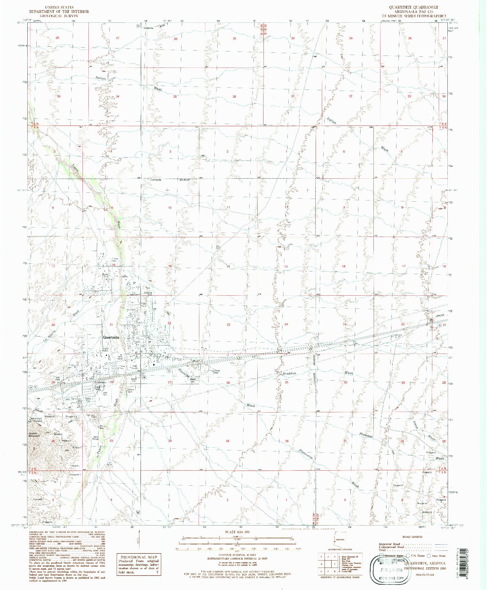 USGS 1:24000-SCALE QUADRANGLE FOR QUARTZSITE, AZ 1990
