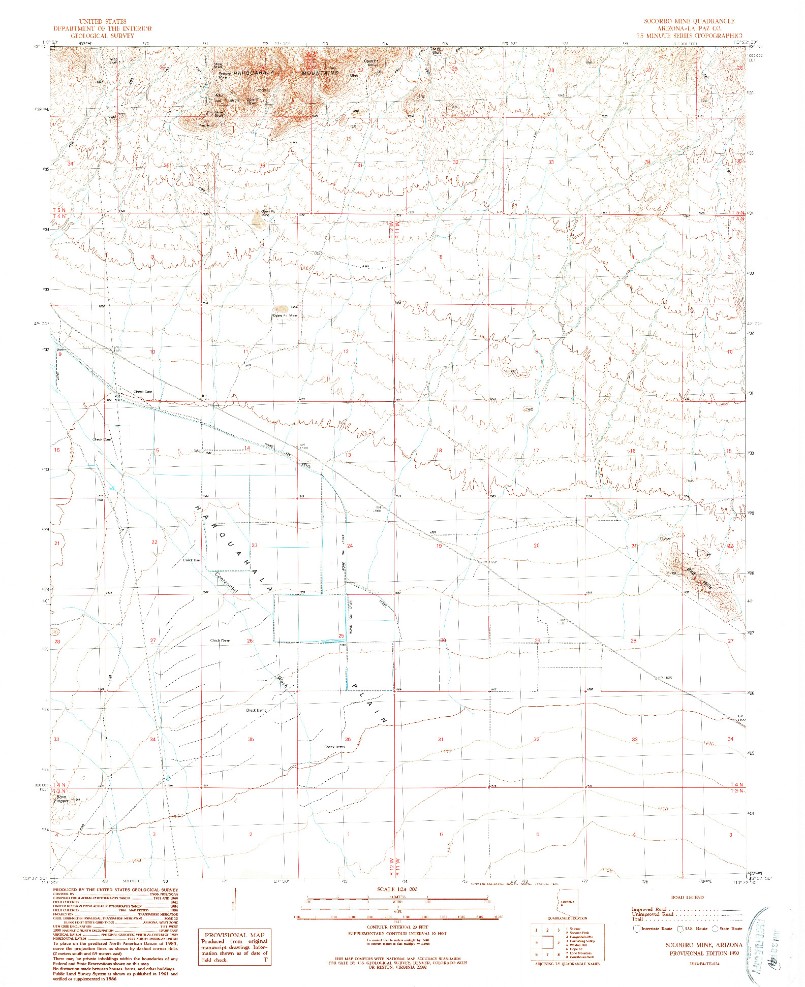 USGS 1:24000-SCALE QUADRANGLE FOR SOCORRO MINE, AZ 1990