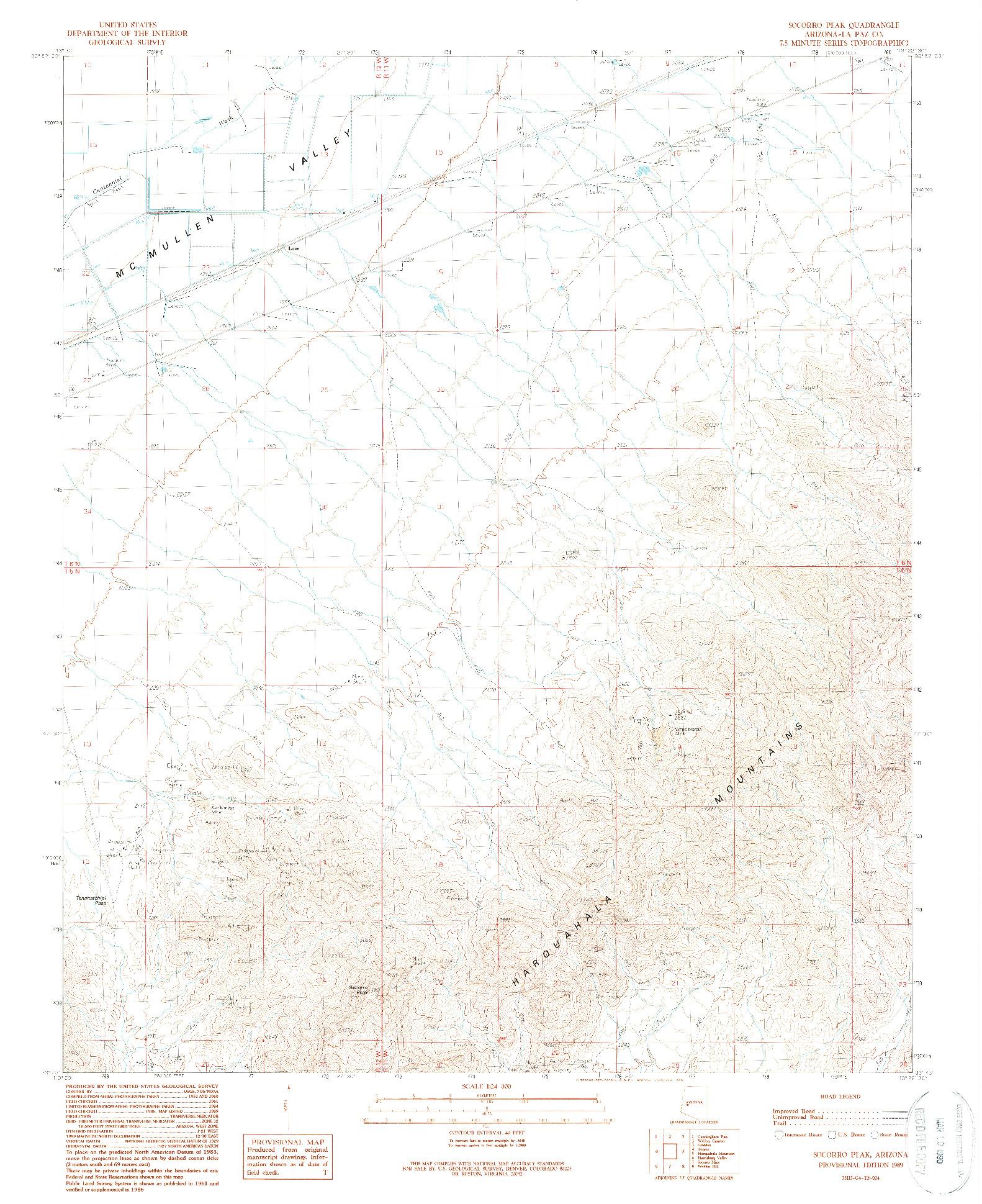 USGS 1:24000-SCALE QUADRANGLE FOR SOCORRO PEAK, AZ 1989