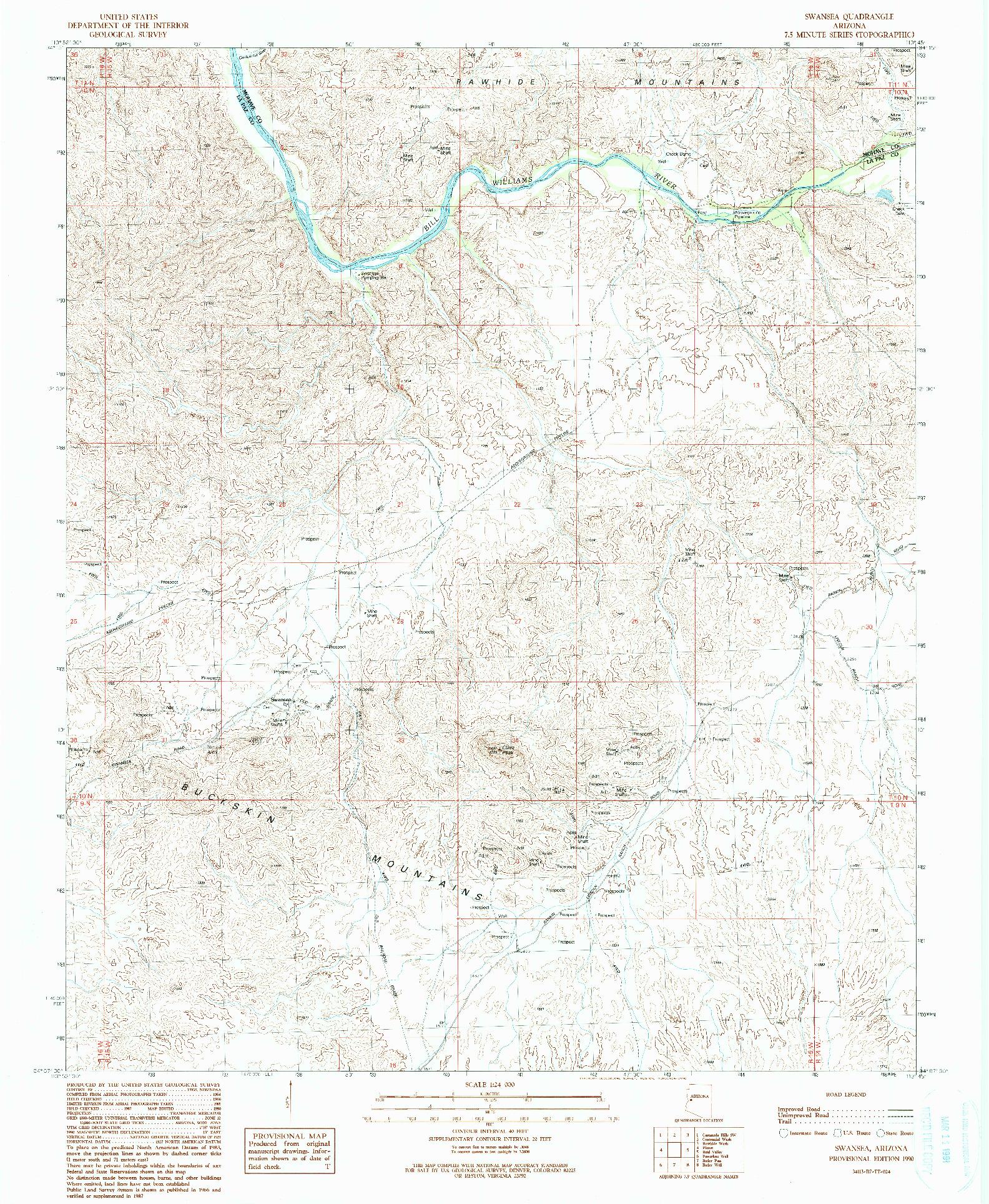 USGS 1:24000-SCALE QUADRANGLE FOR SWANSEA, AZ 1990
