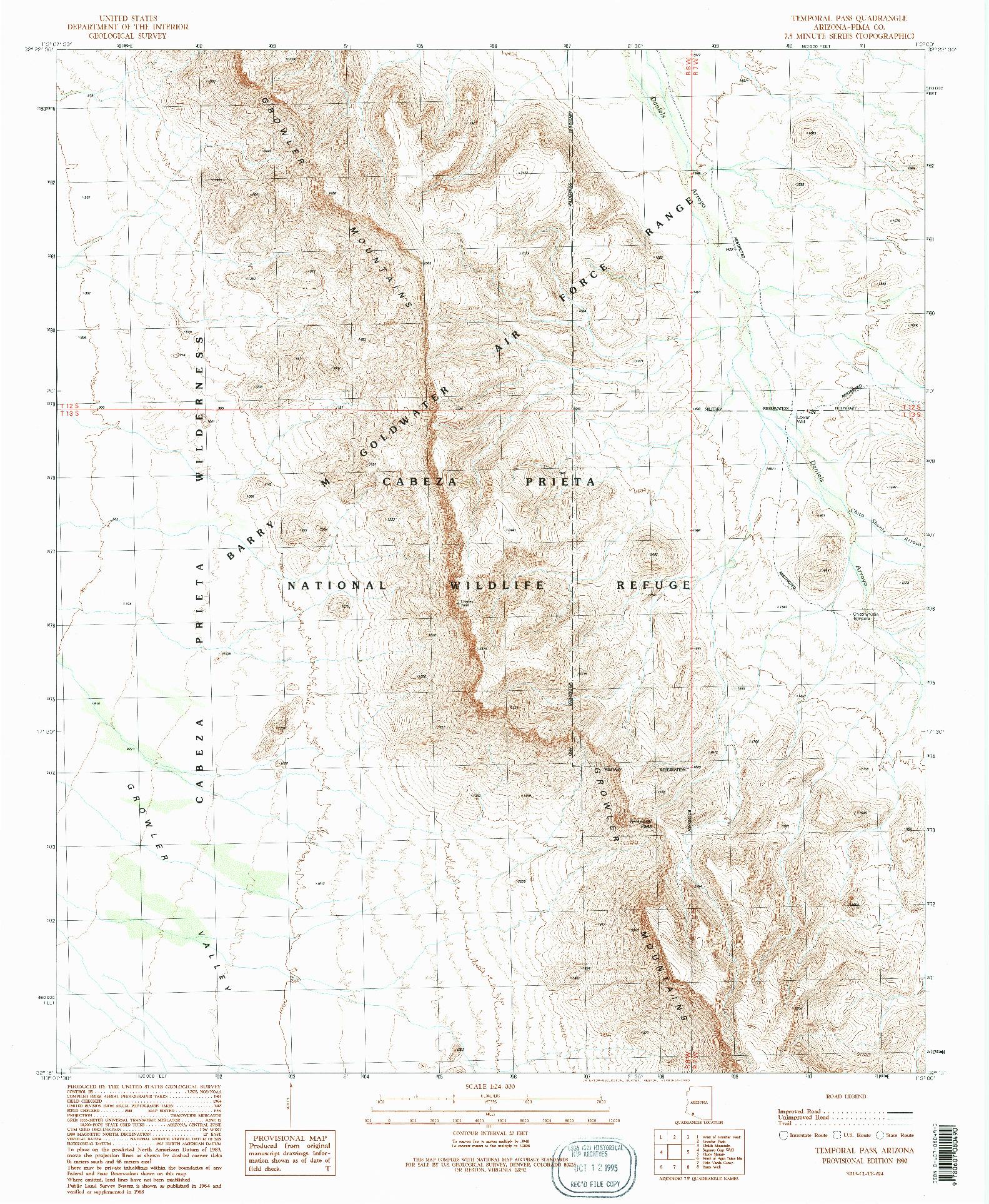 USGS 1:24000-SCALE QUADRANGLE FOR TEMPORAL PASS, AZ 1990