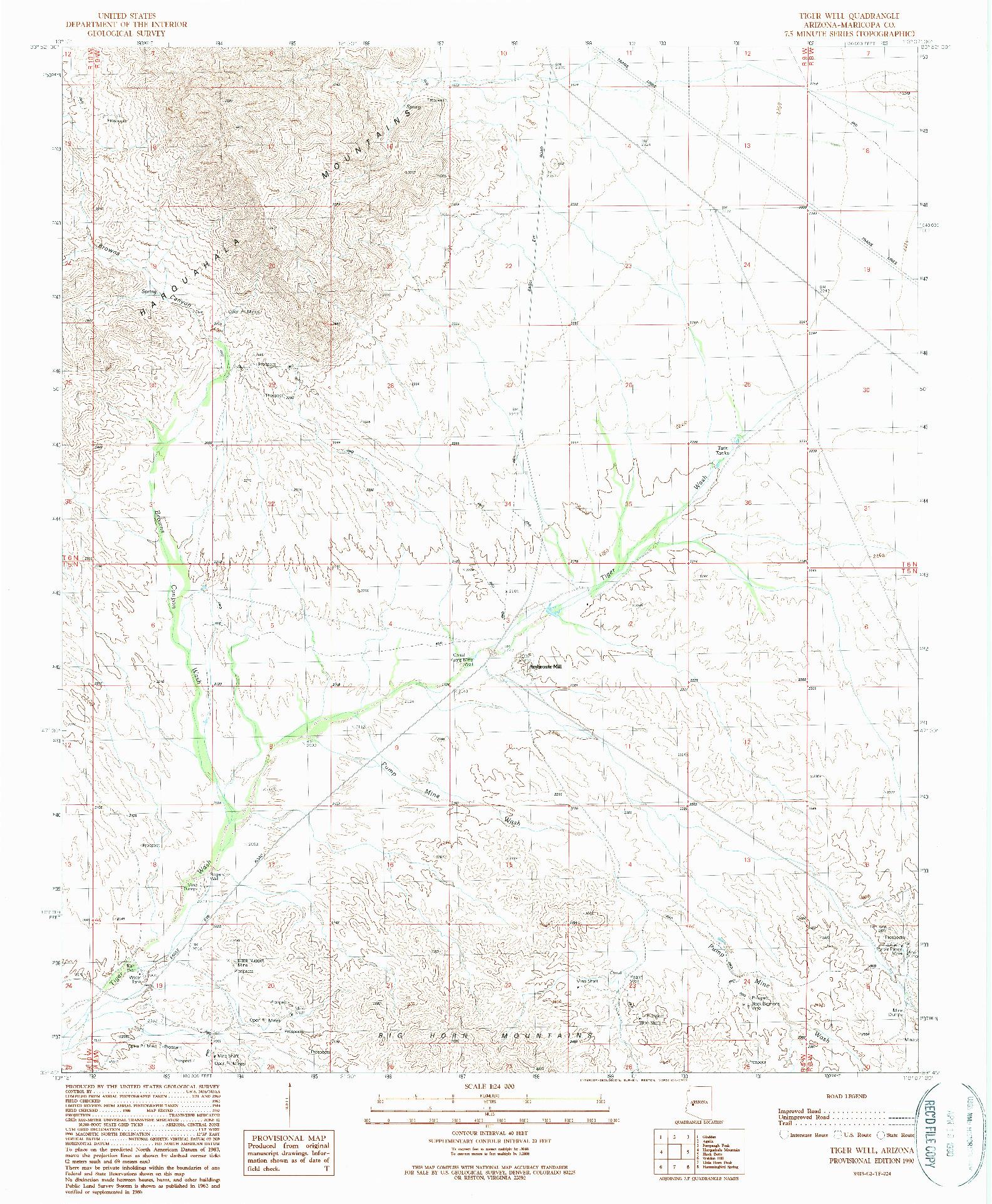 USGS 1:24000-SCALE QUADRANGLE FOR TIGER WELL, AZ 1990