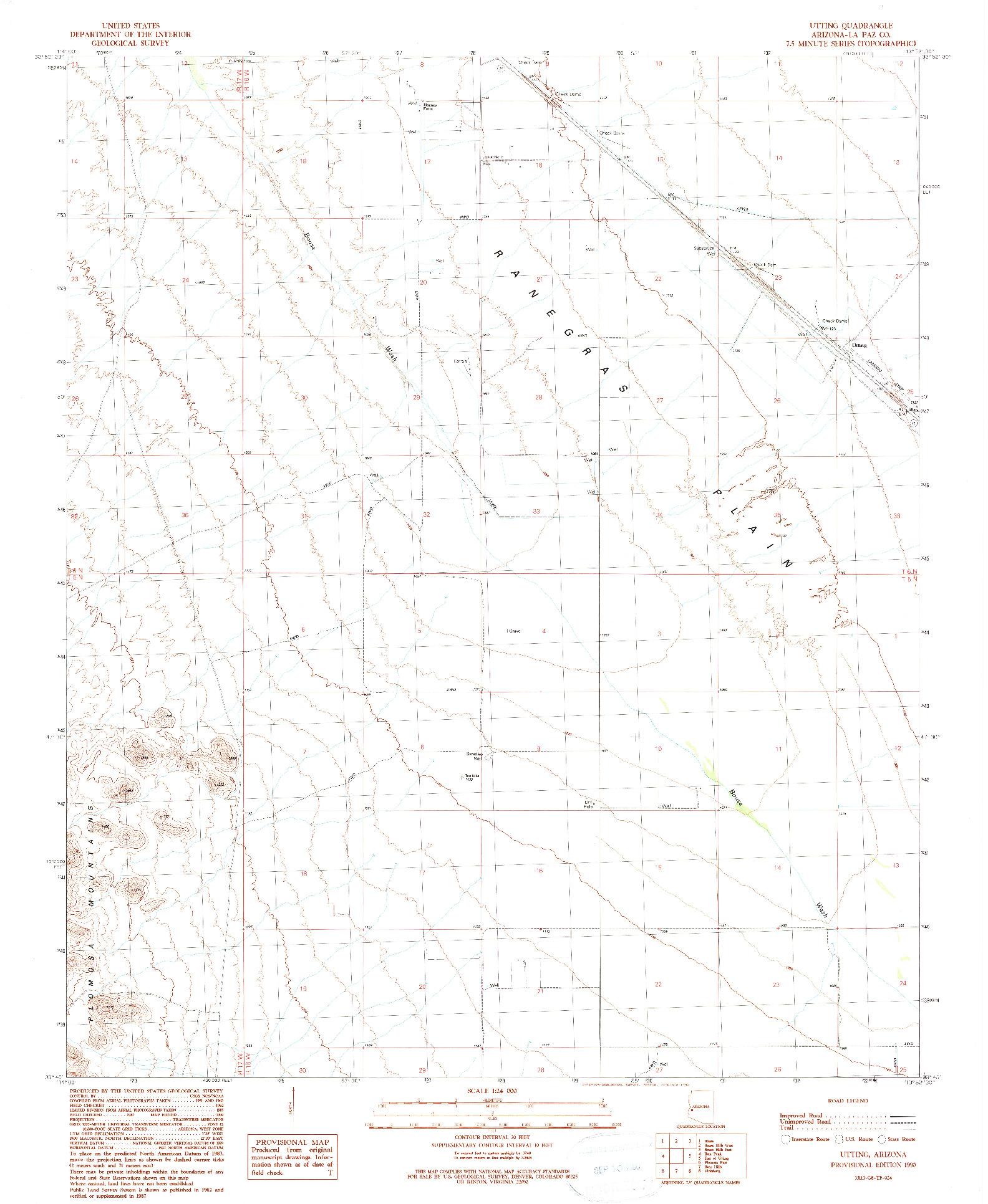 USGS 1:24000-SCALE QUADRANGLE FOR UTTING, AZ 1990