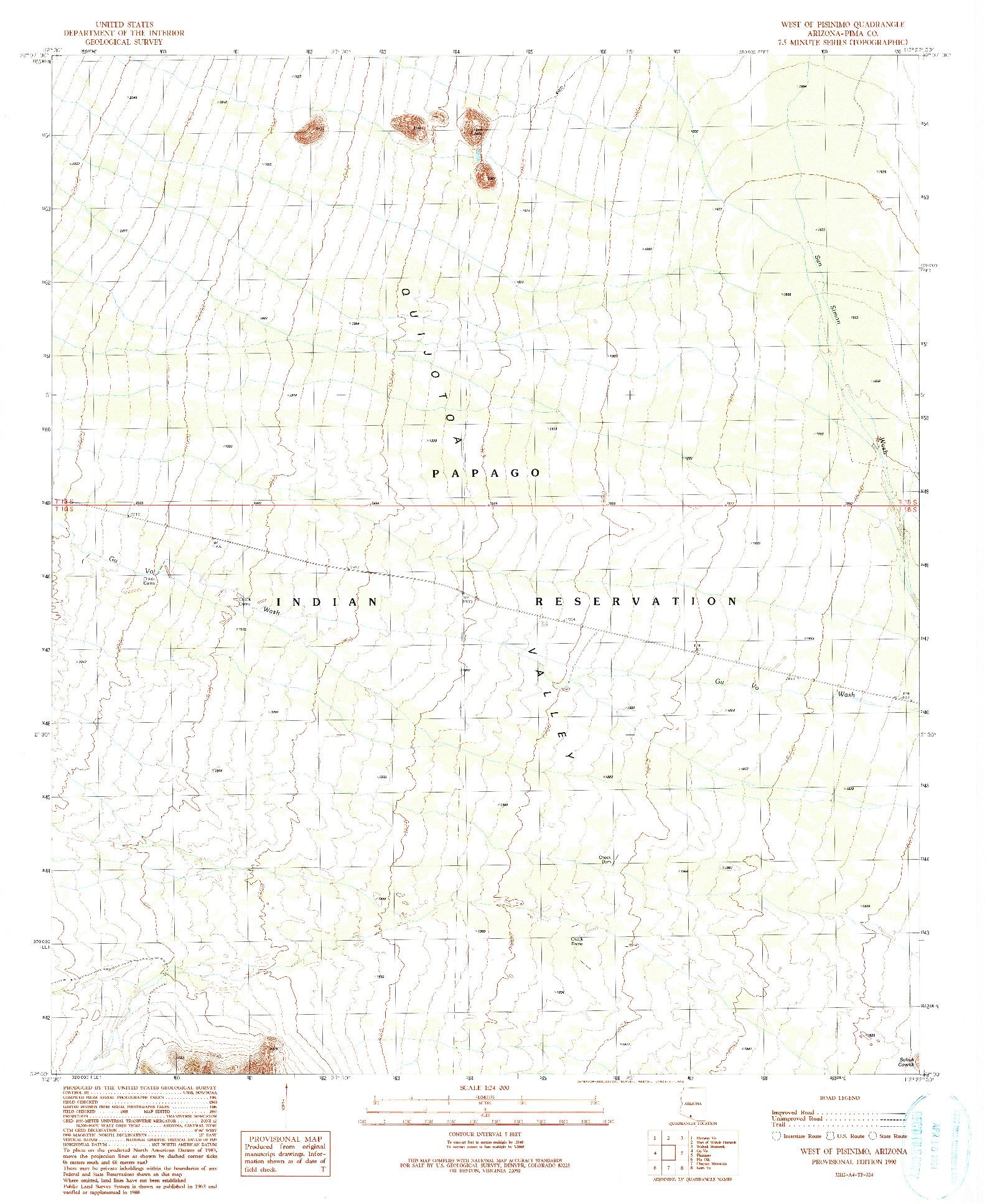 USGS 1:24000-SCALE QUADRANGLE FOR WEST OF PISINIMO, AZ 1990