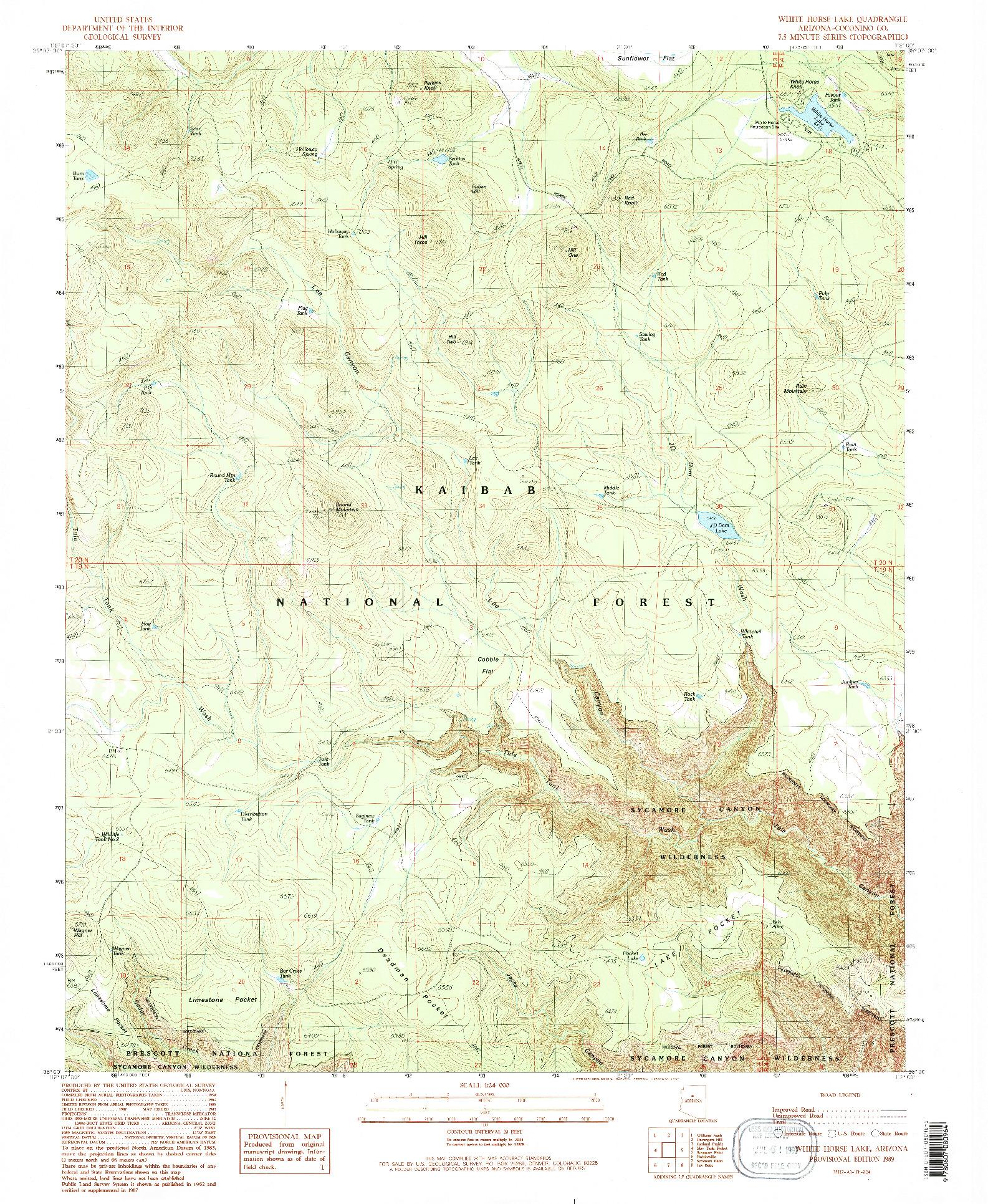 USGS 1:24000-SCALE QUADRANGLE FOR WHITE HORSE LAKE, AZ 1989