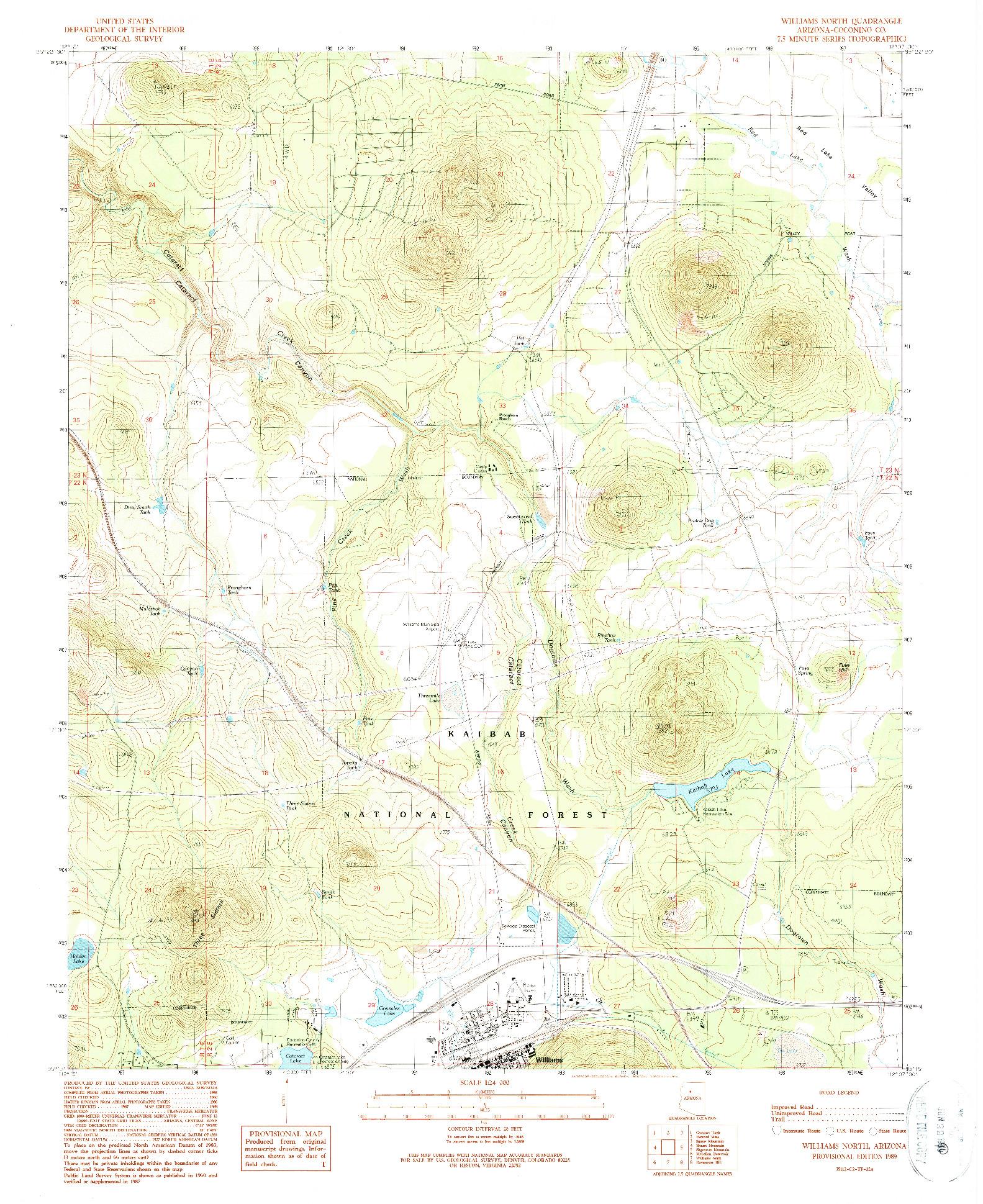 USGS 1:24000-SCALE QUADRANGLE FOR WILLIAMS NORTH, AZ 1989