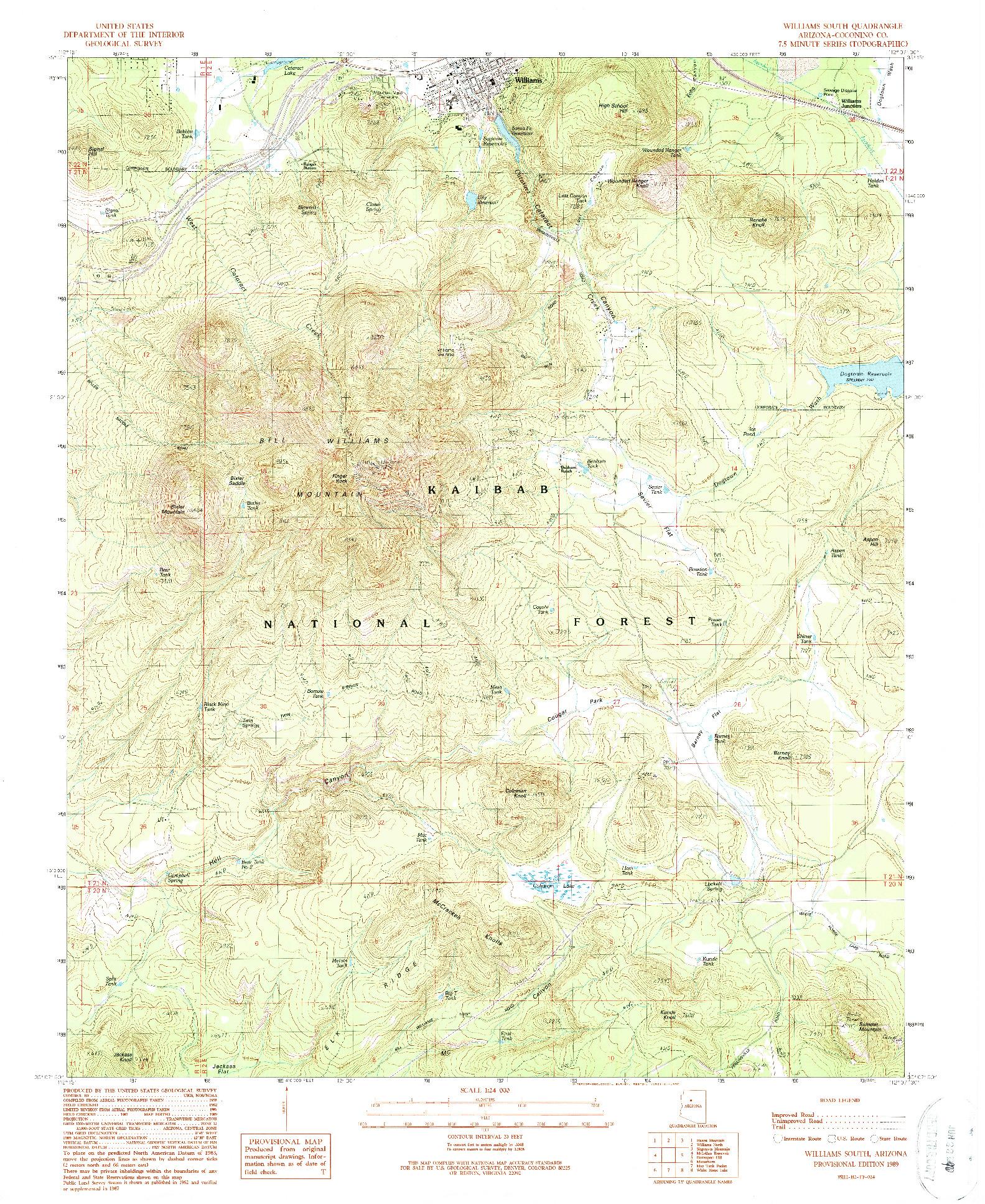 USGS 1:24000-SCALE QUADRANGLE FOR WILLIAMS SOUTH, AZ 1989