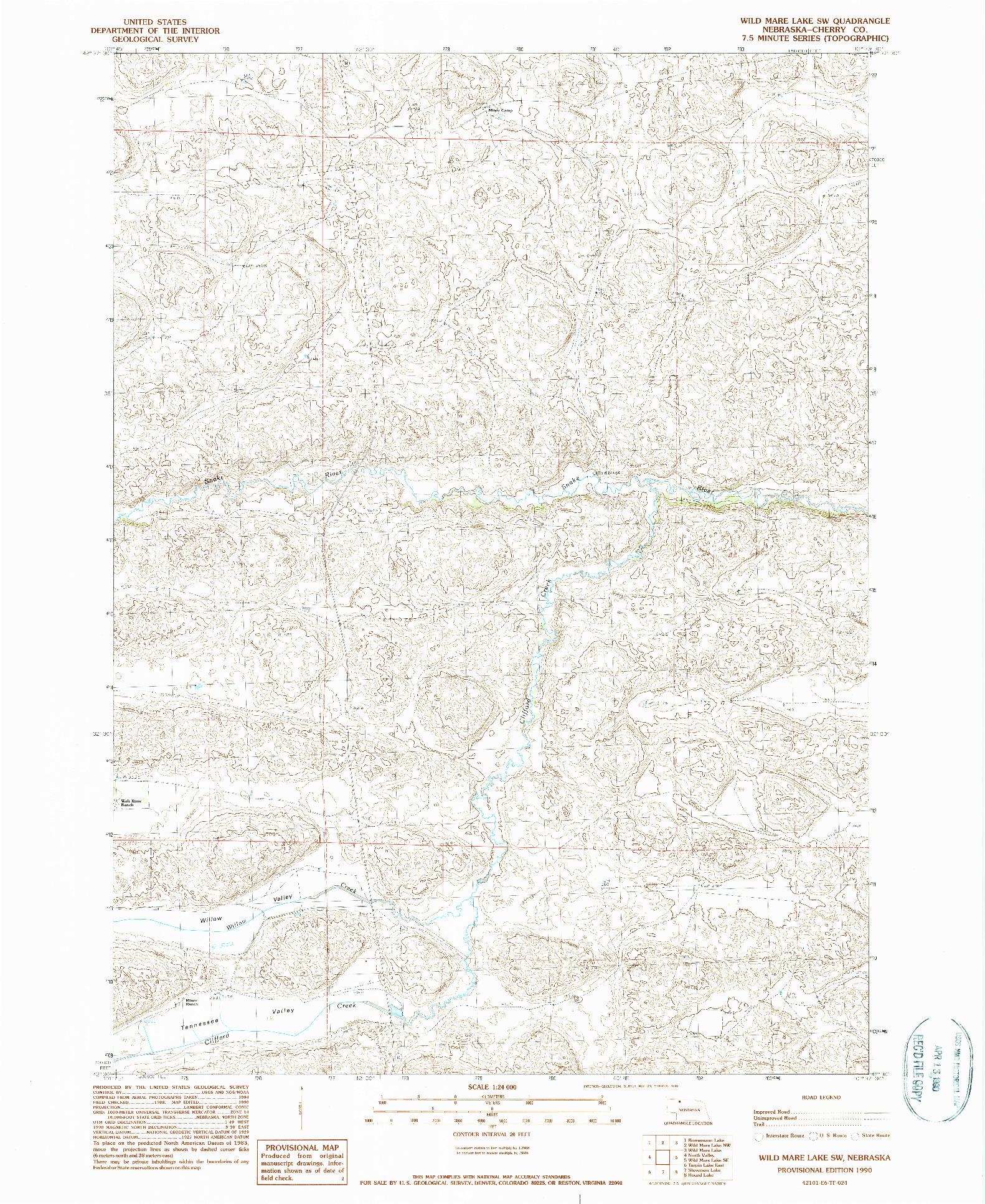USGS 1:24000-SCALE QUADRANGLE FOR WILD MARE LAKE SW, NE 1990