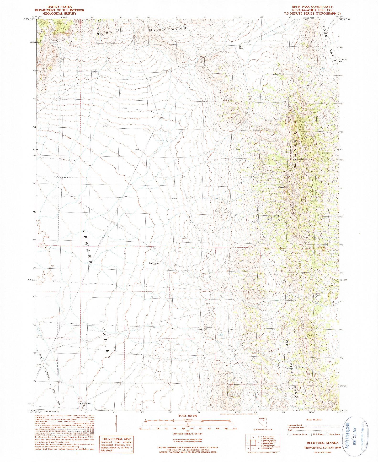USGS 1:24000-SCALE QUADRANGLE FOR BECK PASS, NV 1990