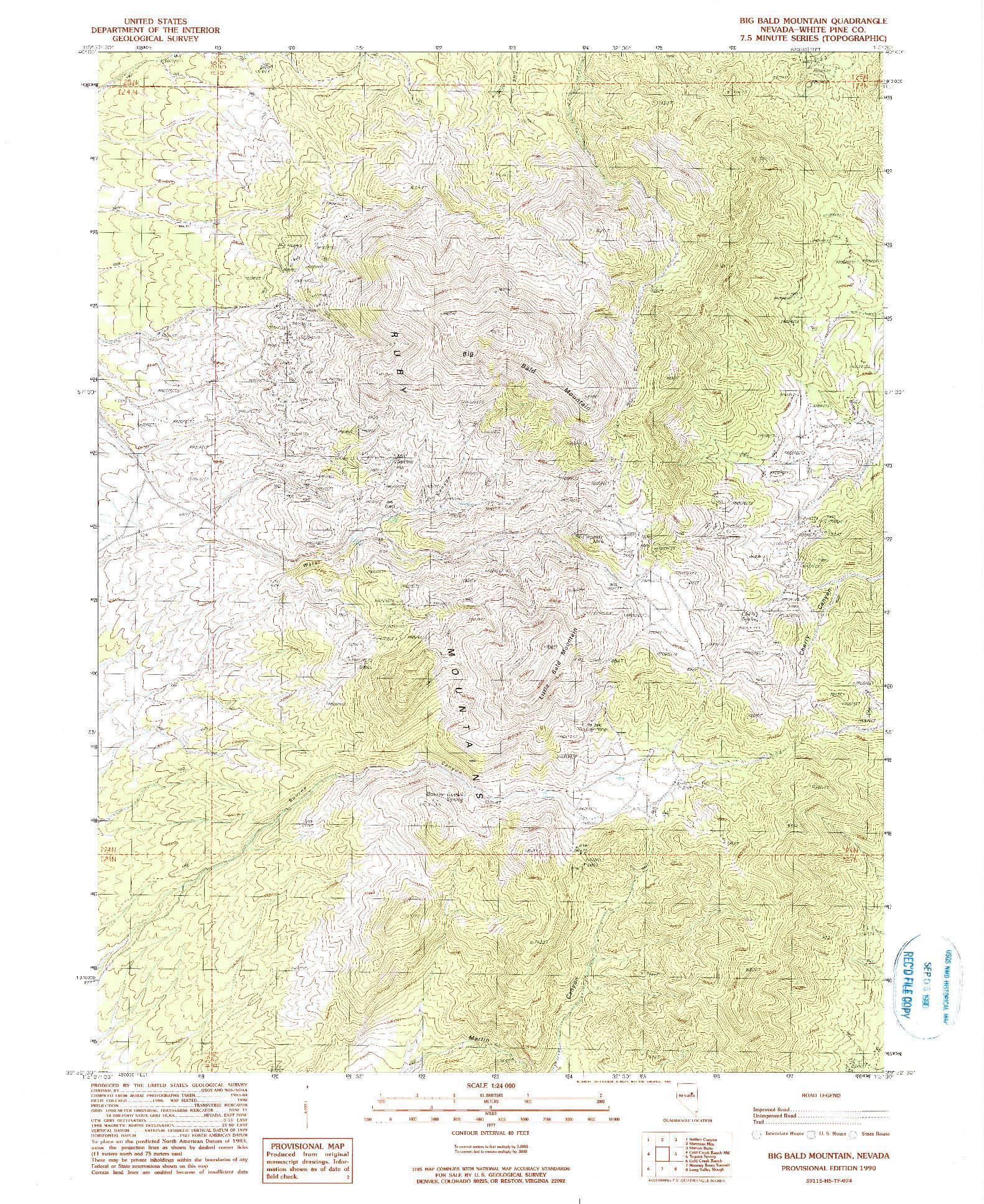 USGS 1:24000-SCALE QUADRANGLE FOR BIG BALD MOUNTAIN, NV 1990
